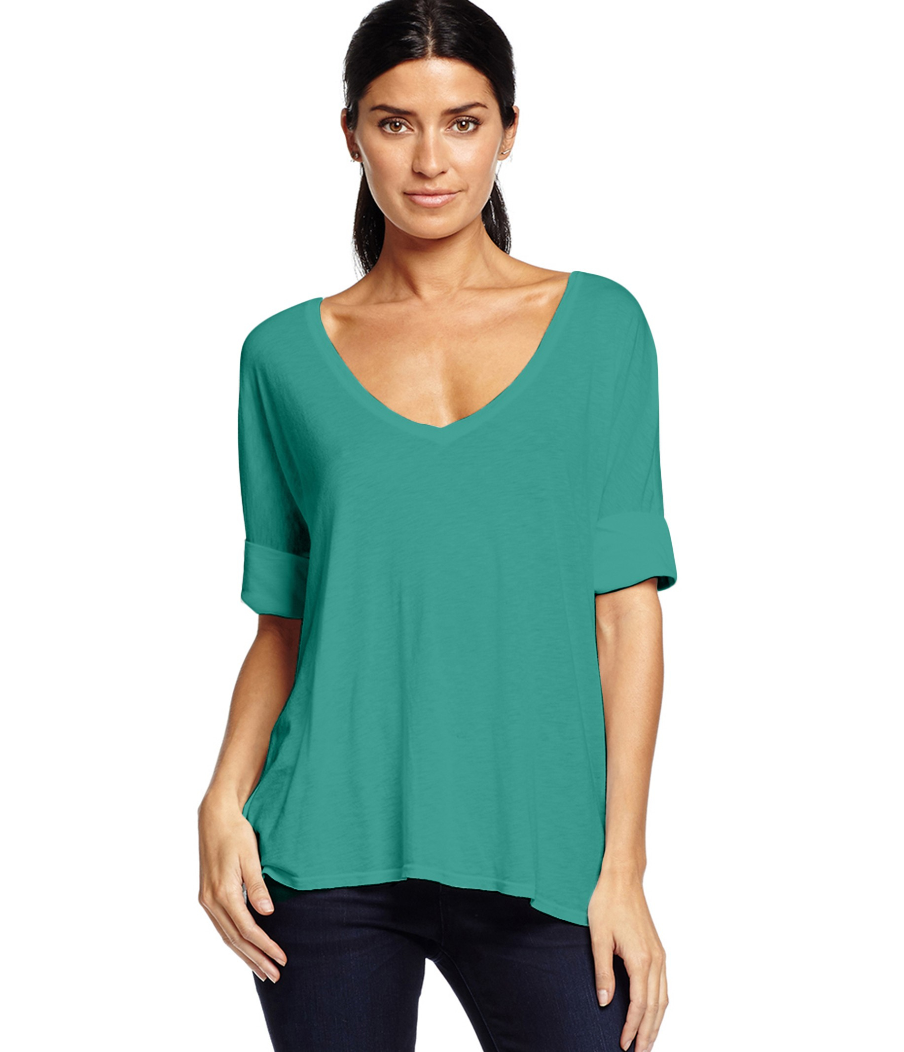 Michael stars rolled sleeve v neck tee in green dragonfly for Michael stars tee shirts
