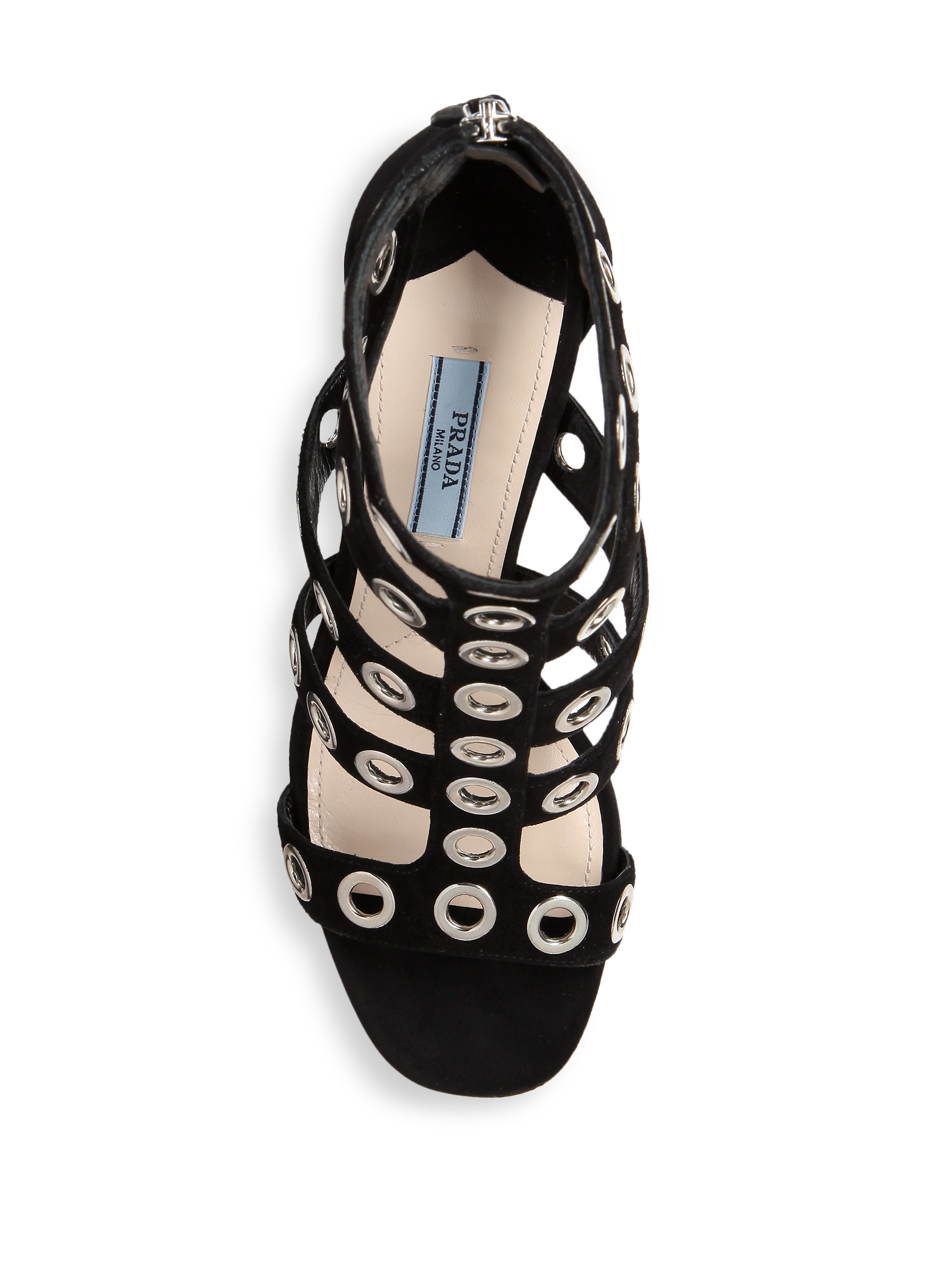 Prada Grommeted Suede Gladiator Sandals In Black Lyst
