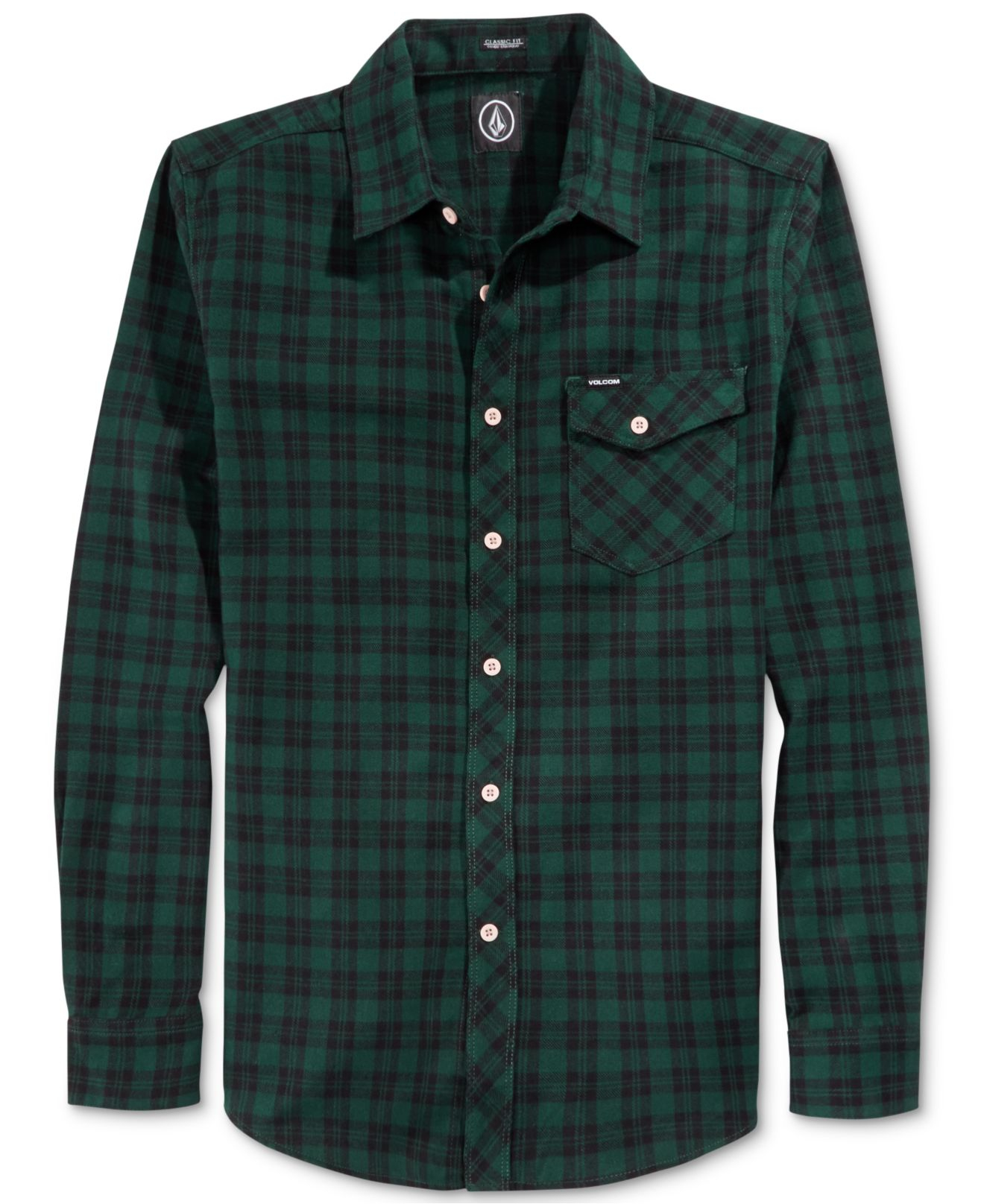 Lyst Volcom Flartin Plaid Flannel Shirt In Green For Men