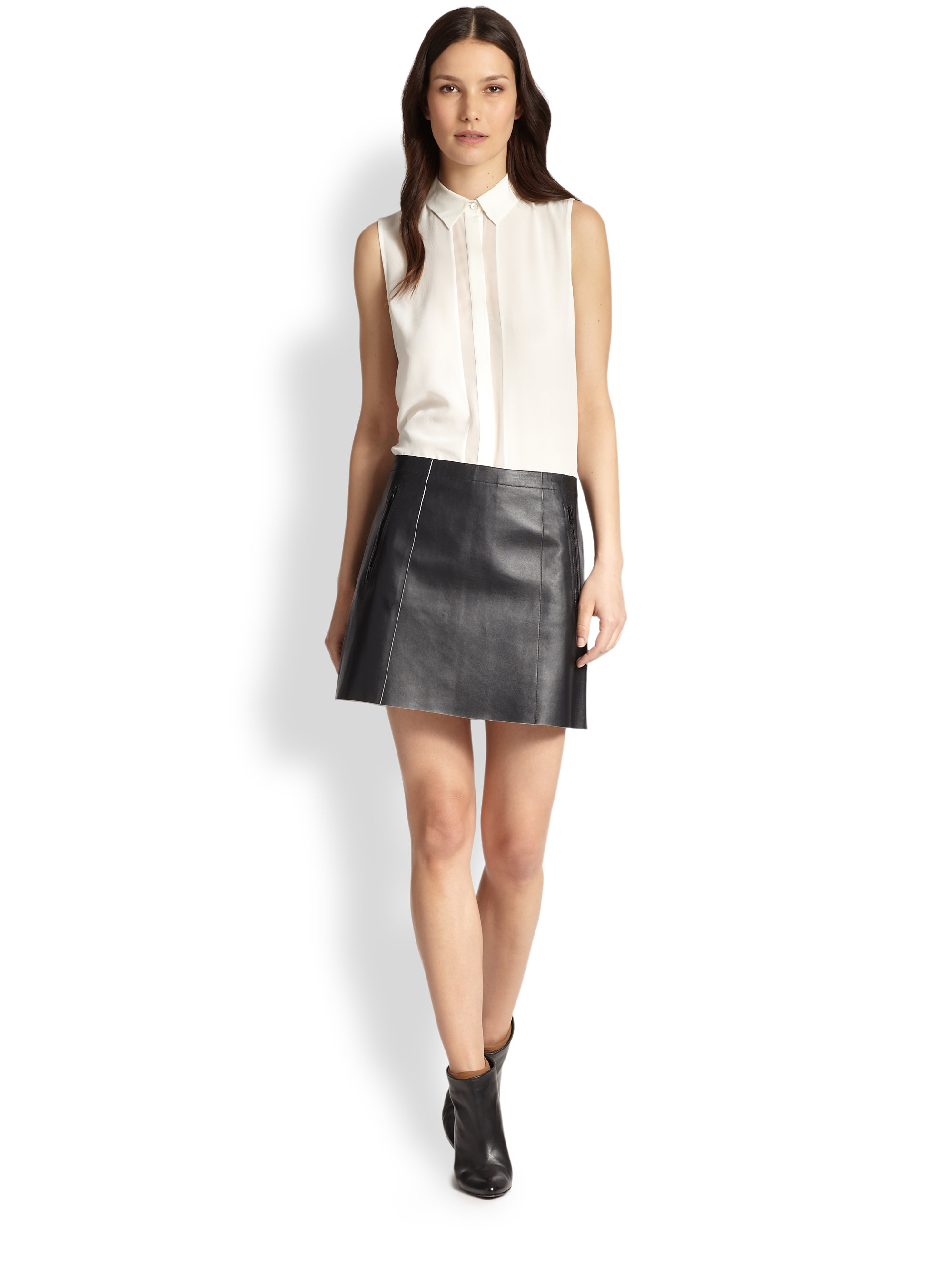 Vince Leather Mini Skirt in Black | Lyst