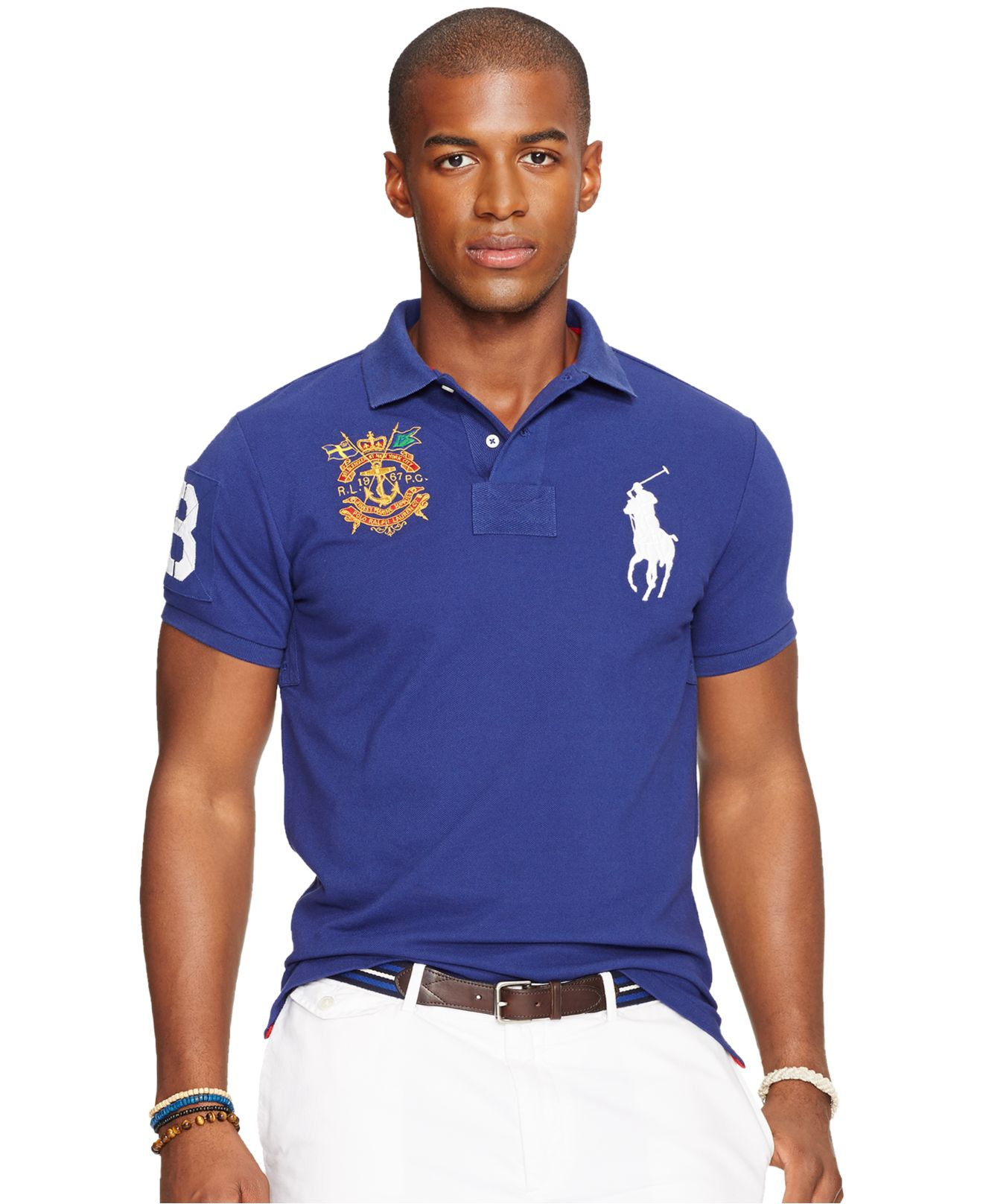 Ralph Lauren Fashion Style Red And Blue Short Sleeved Polo