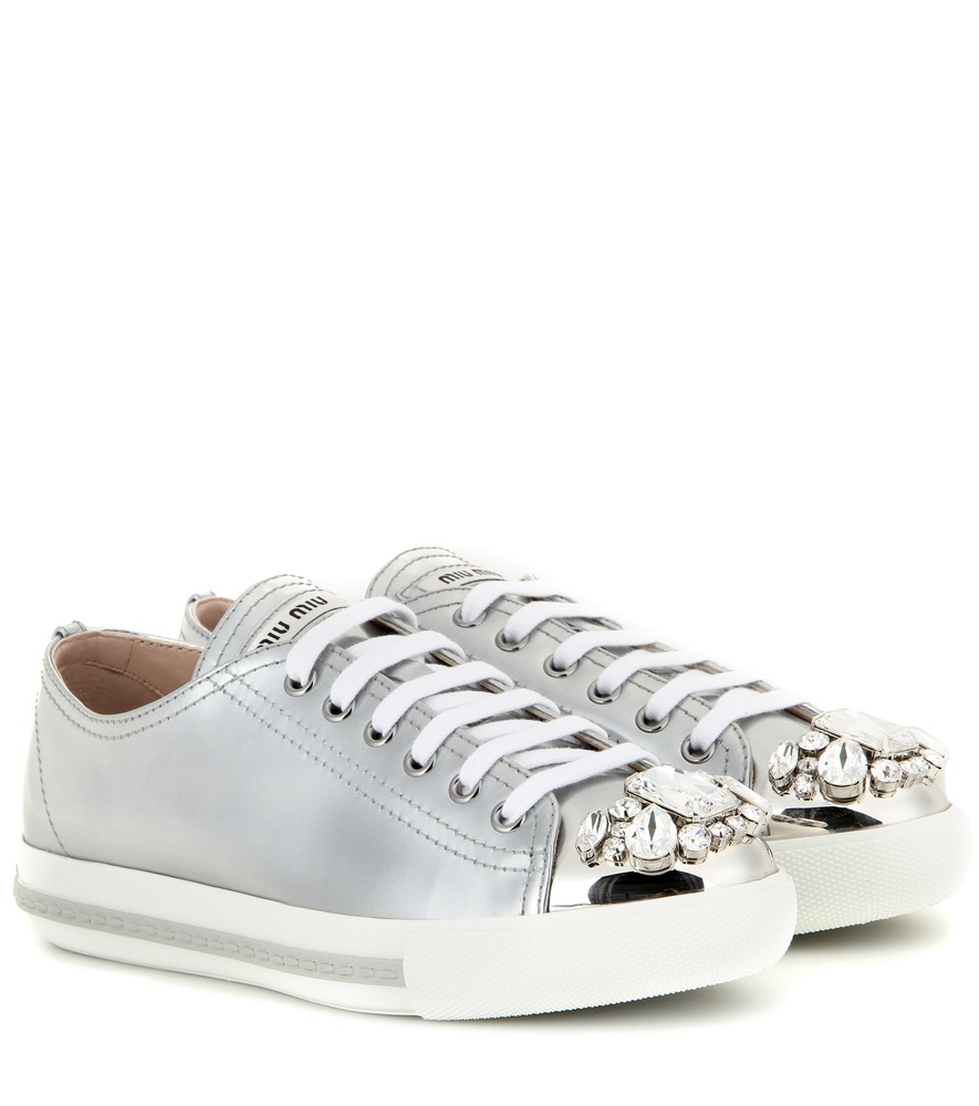 miu miu crystal embellished leather sneakers in silver lyst. Black Bedroom Furniture Sets. Home Design Ideas
