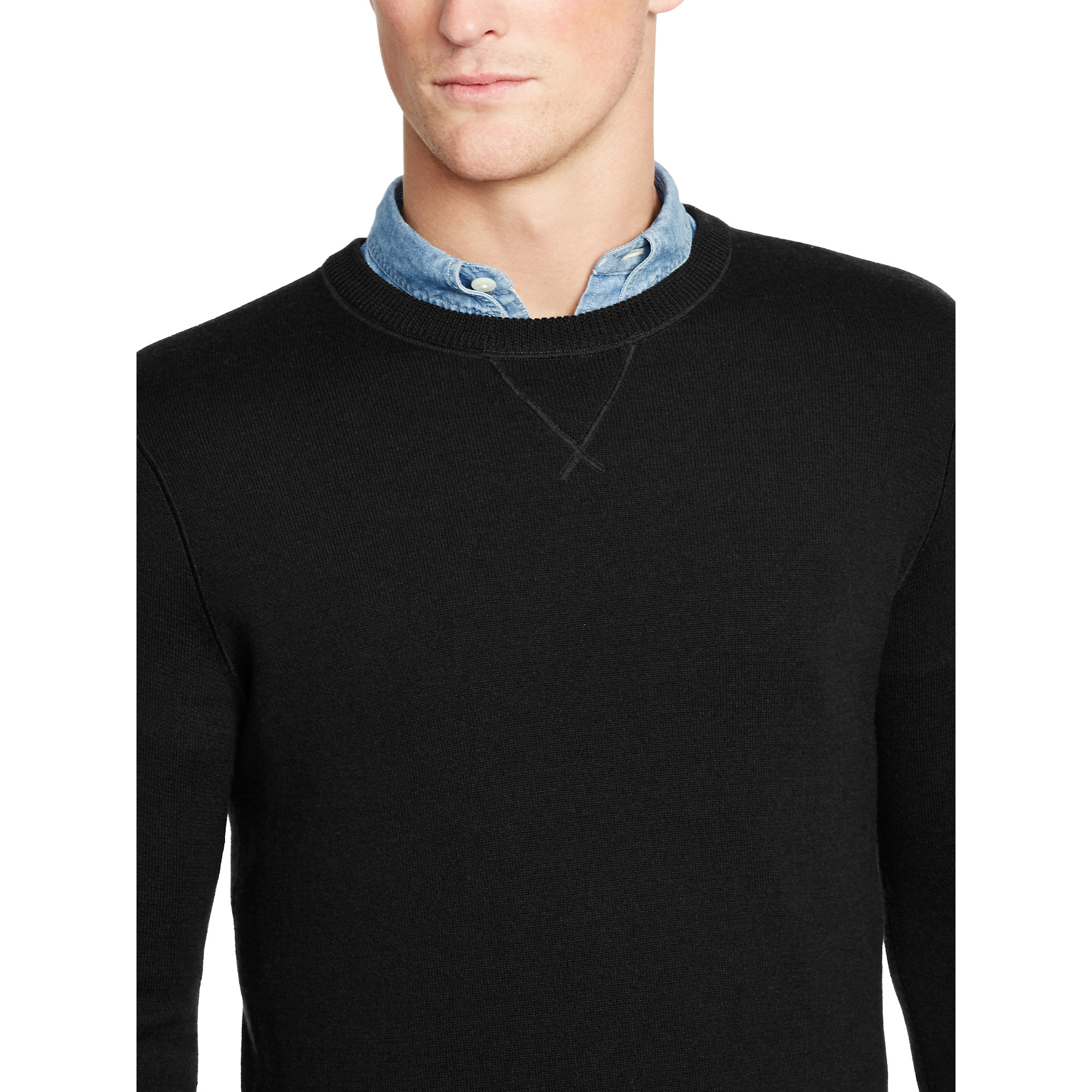 Polo ralph lauren Merino Wool Crewneck Sweater in Black for Men | Lyst