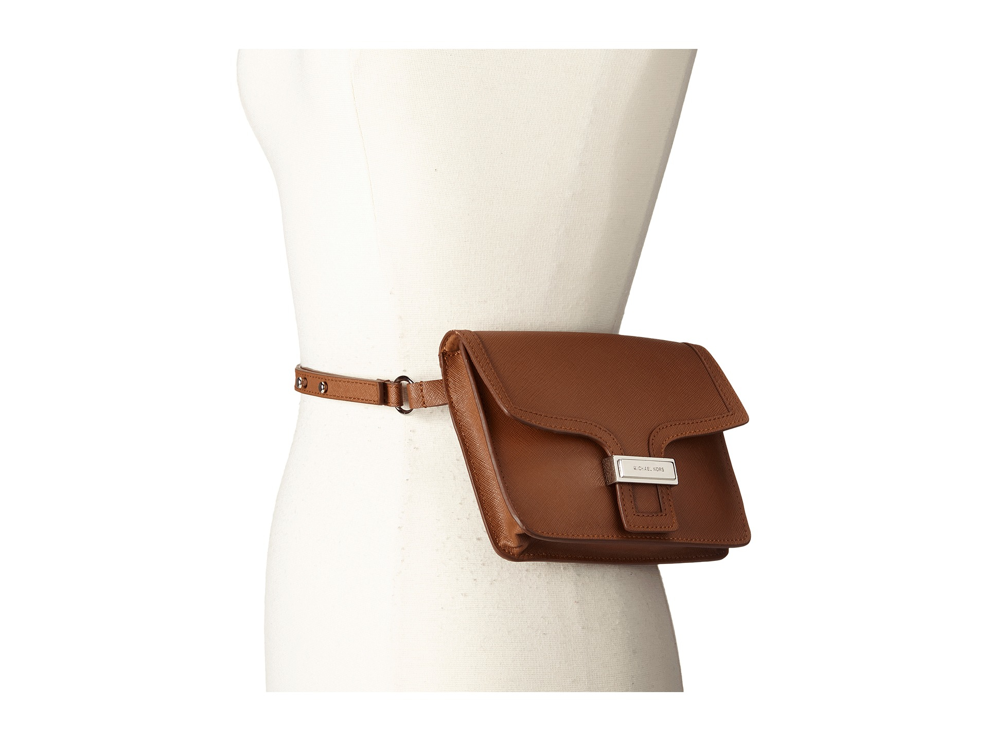 Lyst - MICHAEL Michael Kors 13mm Saffiano Panel Belt Bag in Brown fbefffd01db0a