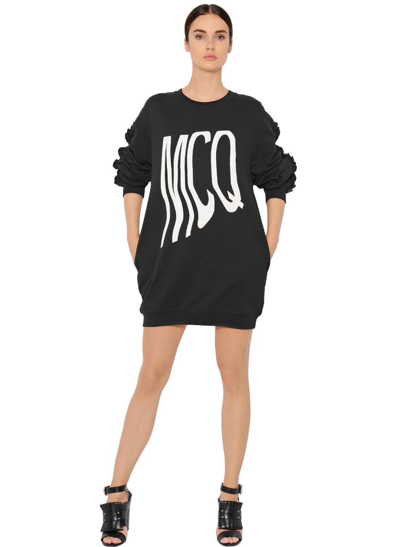 Mcq Ruffled Heavy Cotton Jersey Dress In Black Lyst