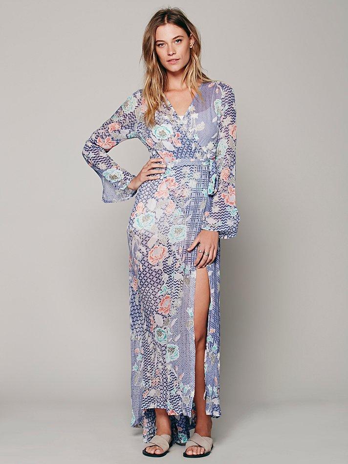 5fab2dd270b Lyst - Free People Batik Floral Wrap Maxi