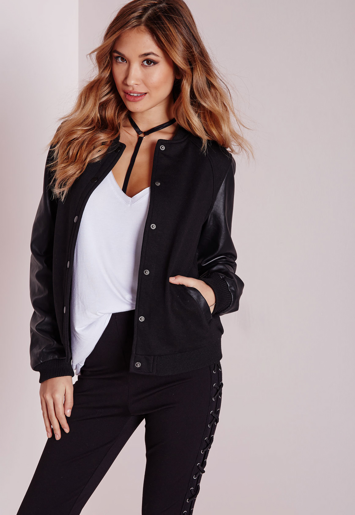 Missguided Faux Leather Sleeve Bomber Jacket Black in Black | Lyst
