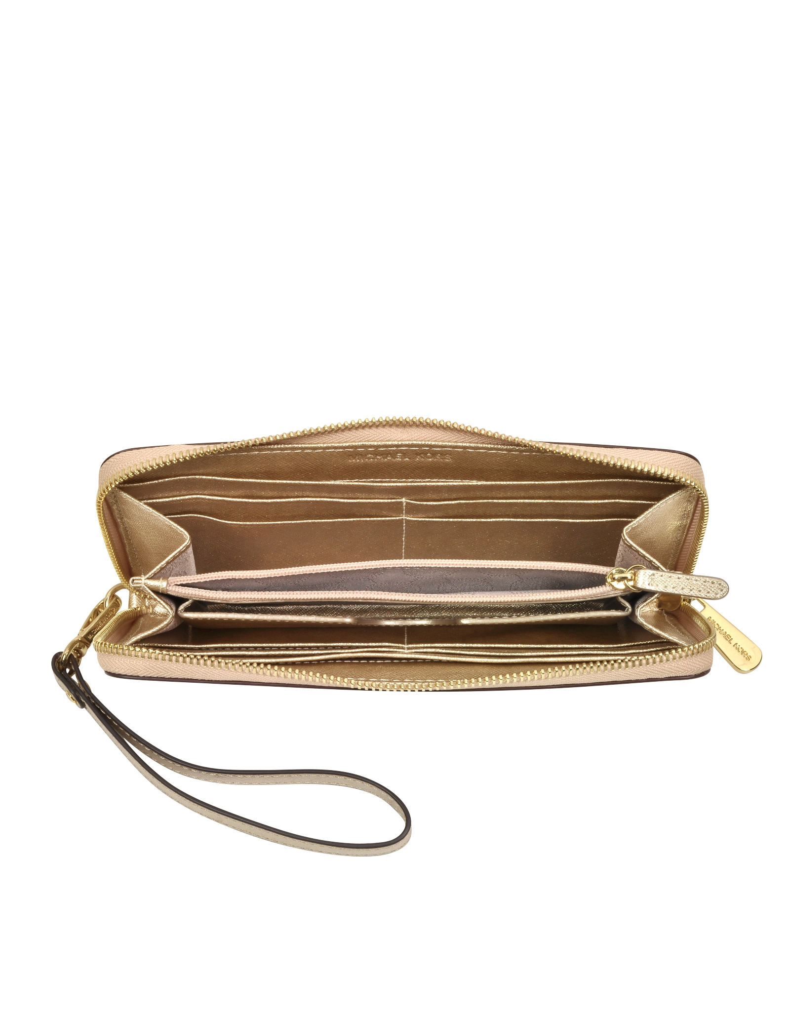 1dc0bab5a5613c Michael Kors Jet Set Travel Pale Gold Metallic Saffiano Leather ...