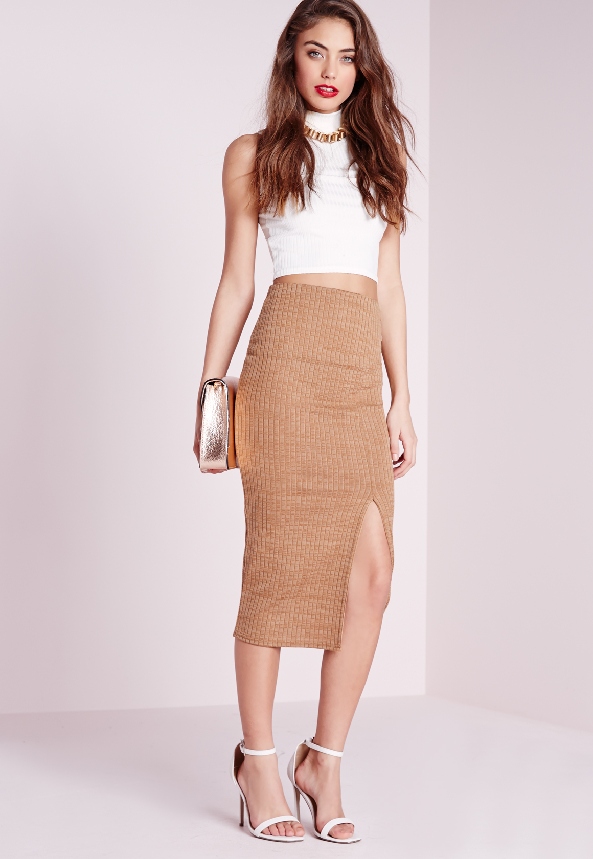 Missguided Longline Thigh Split Ribbed Midi Skirt Camel in Brown ...