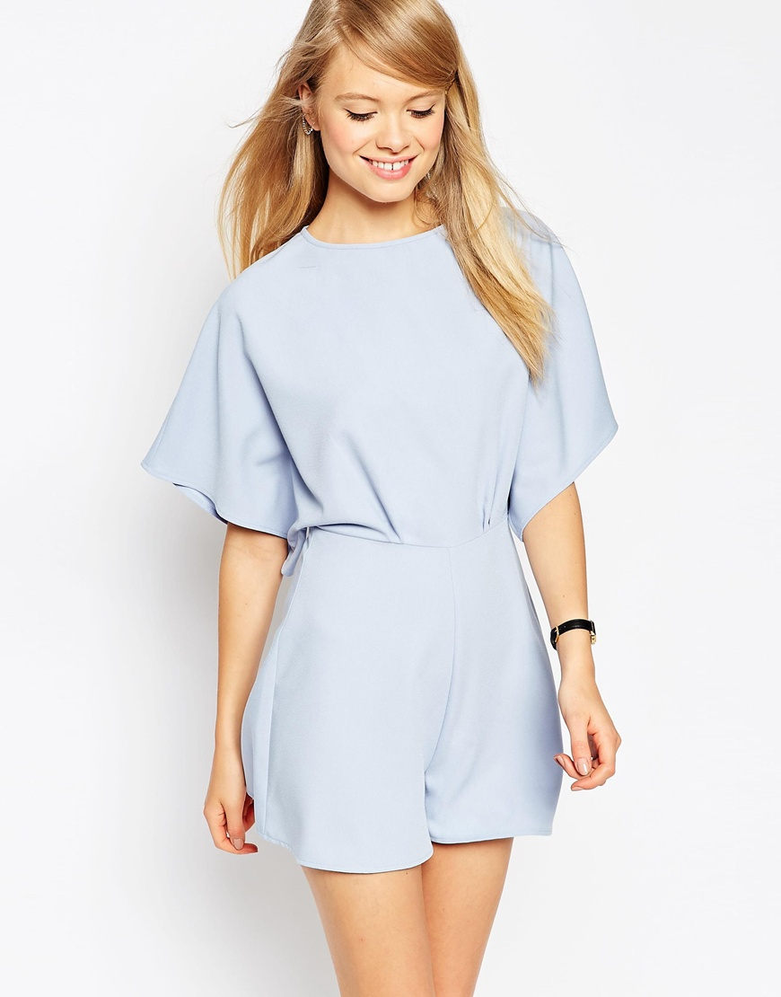 1859b0810d Lyst - ASOS Playsuit With Kimono Sleeve in Blue