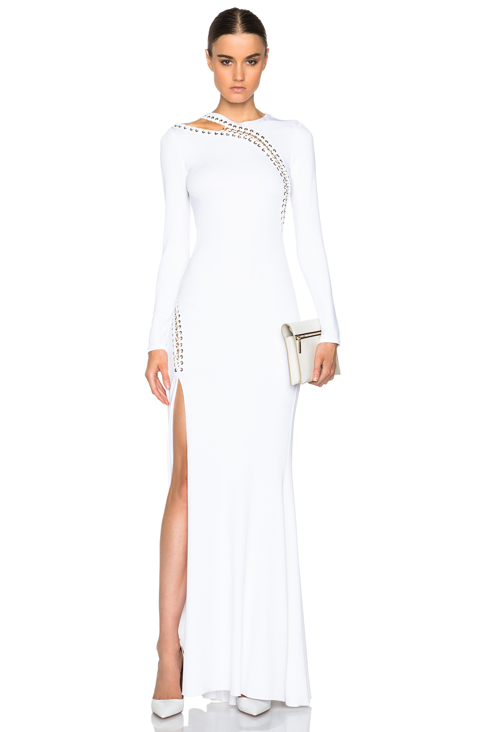 Lyst - Emilio Pucci Long Sleeve Gown With Slit in White