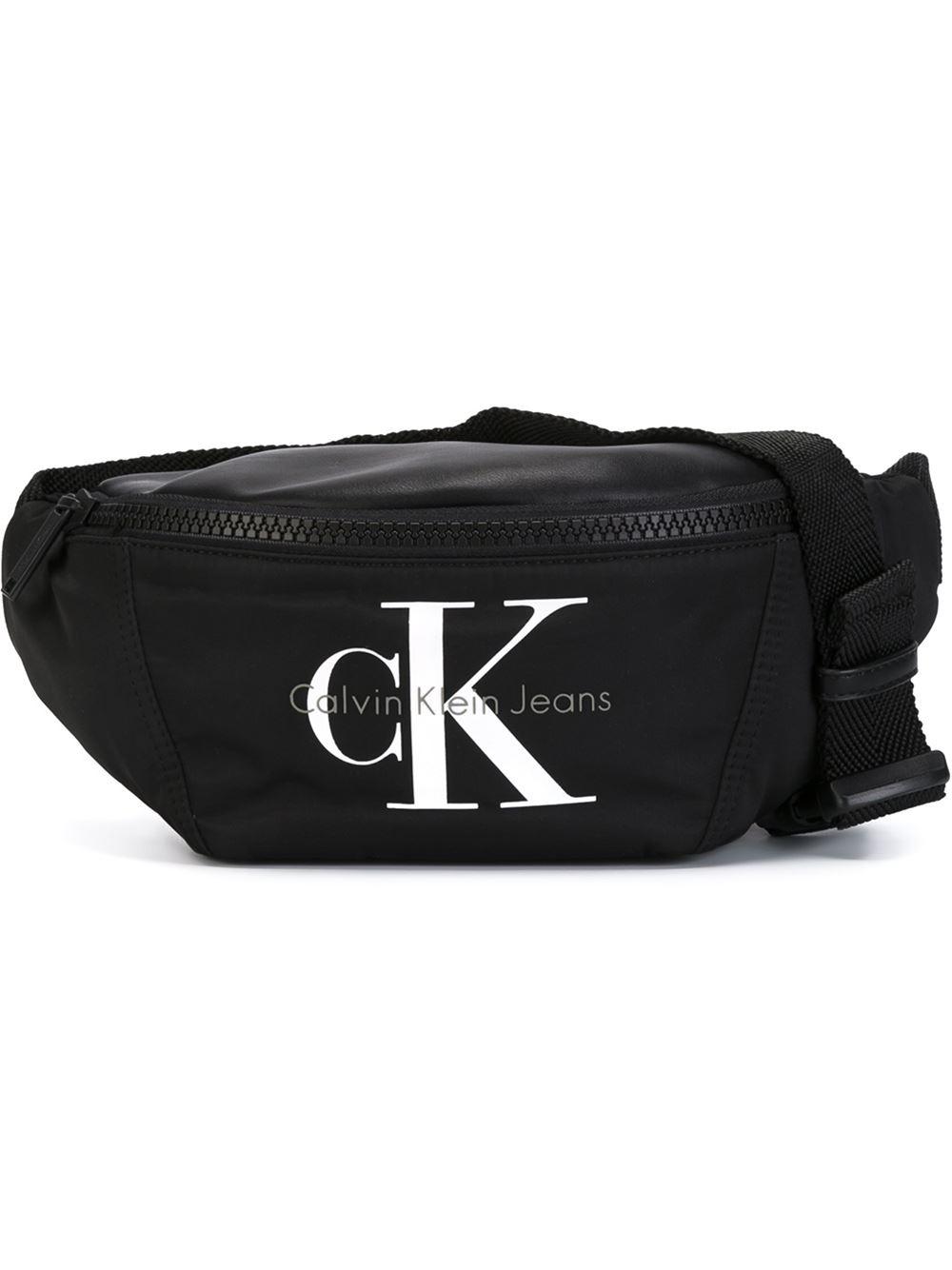 calvin klein jeans logo waist bag in black lyst