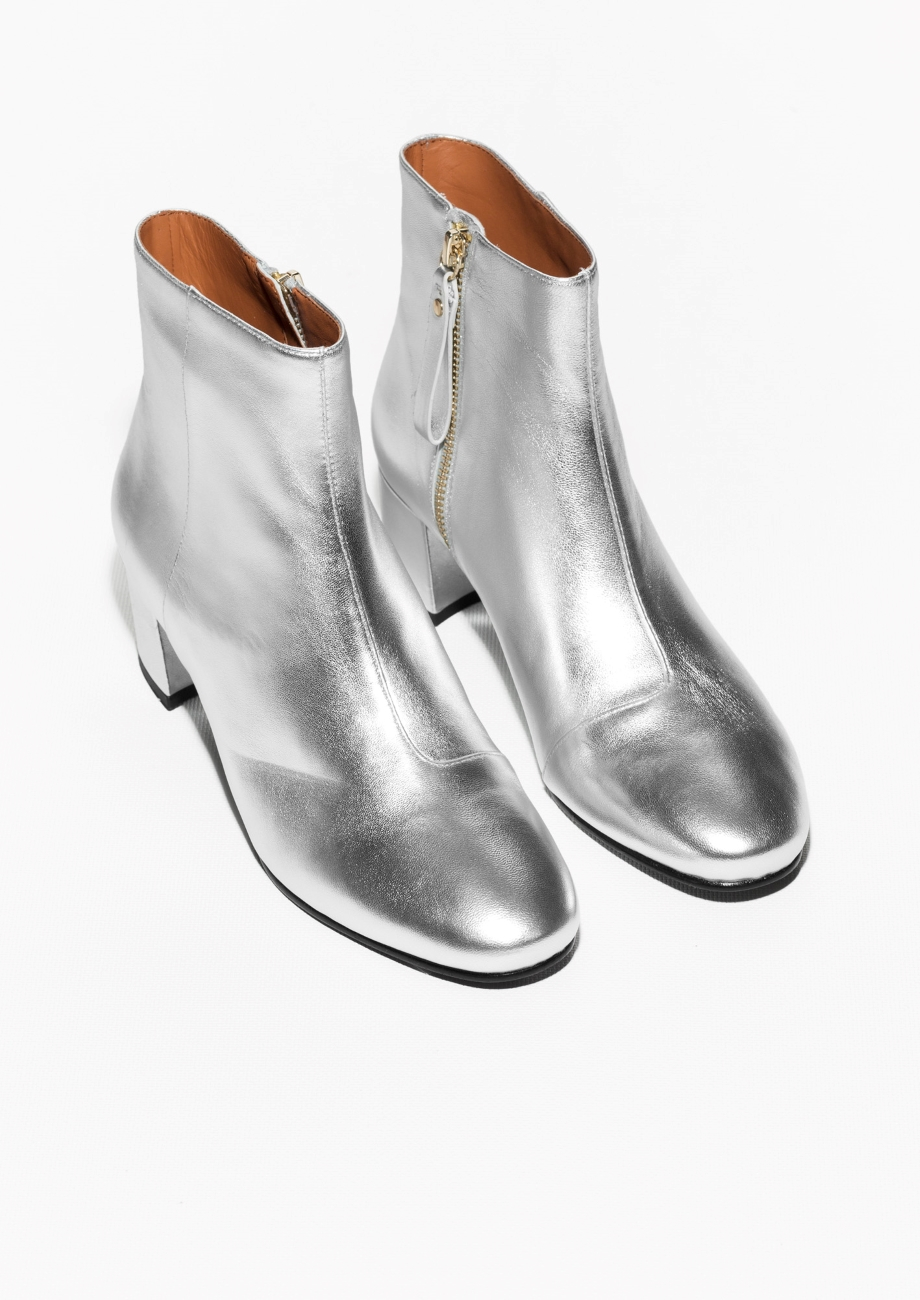 other stories silver ankle boots in metallic lyst