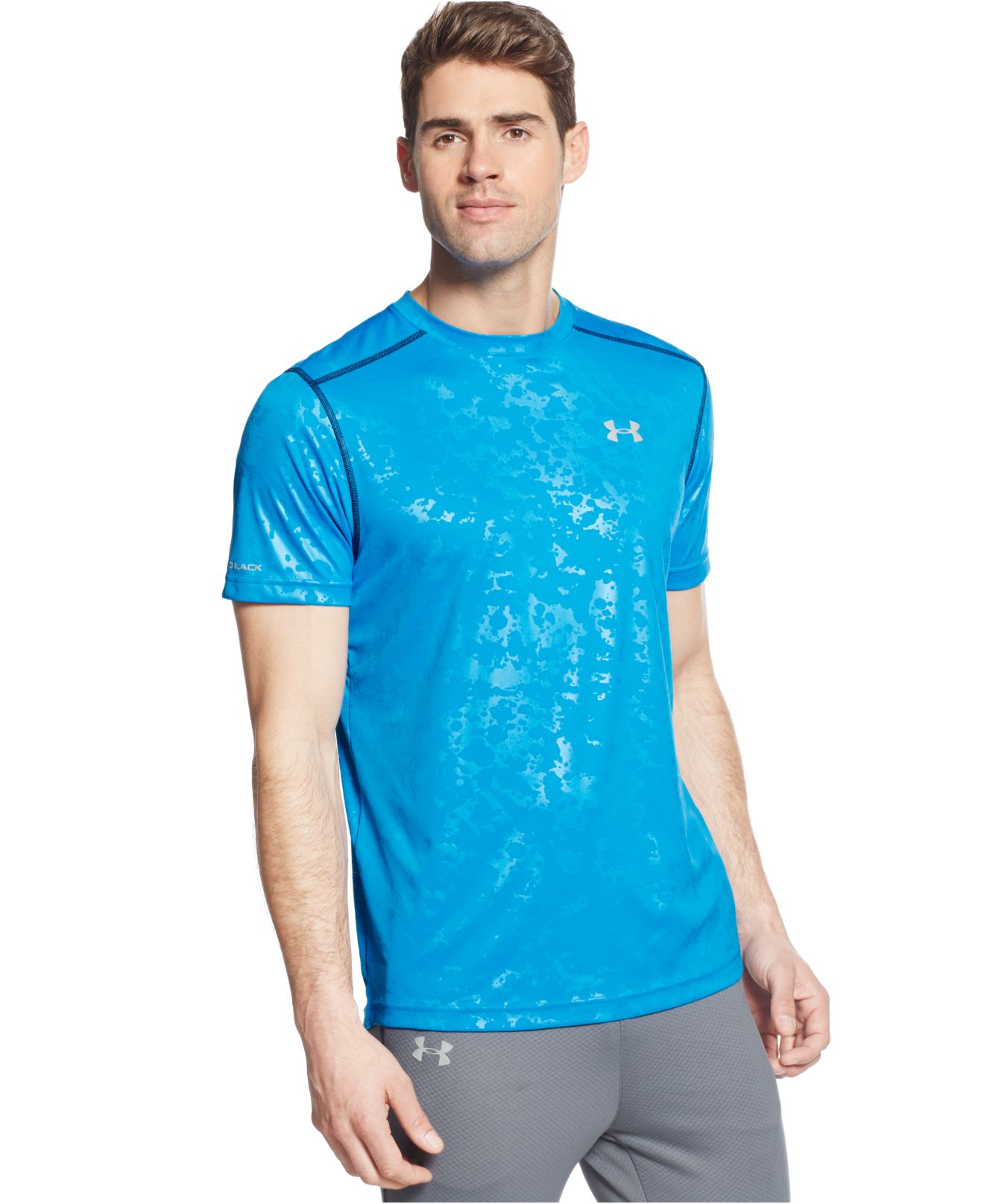 Under Armour Printed Coldblack Running T Shirt In Blue For