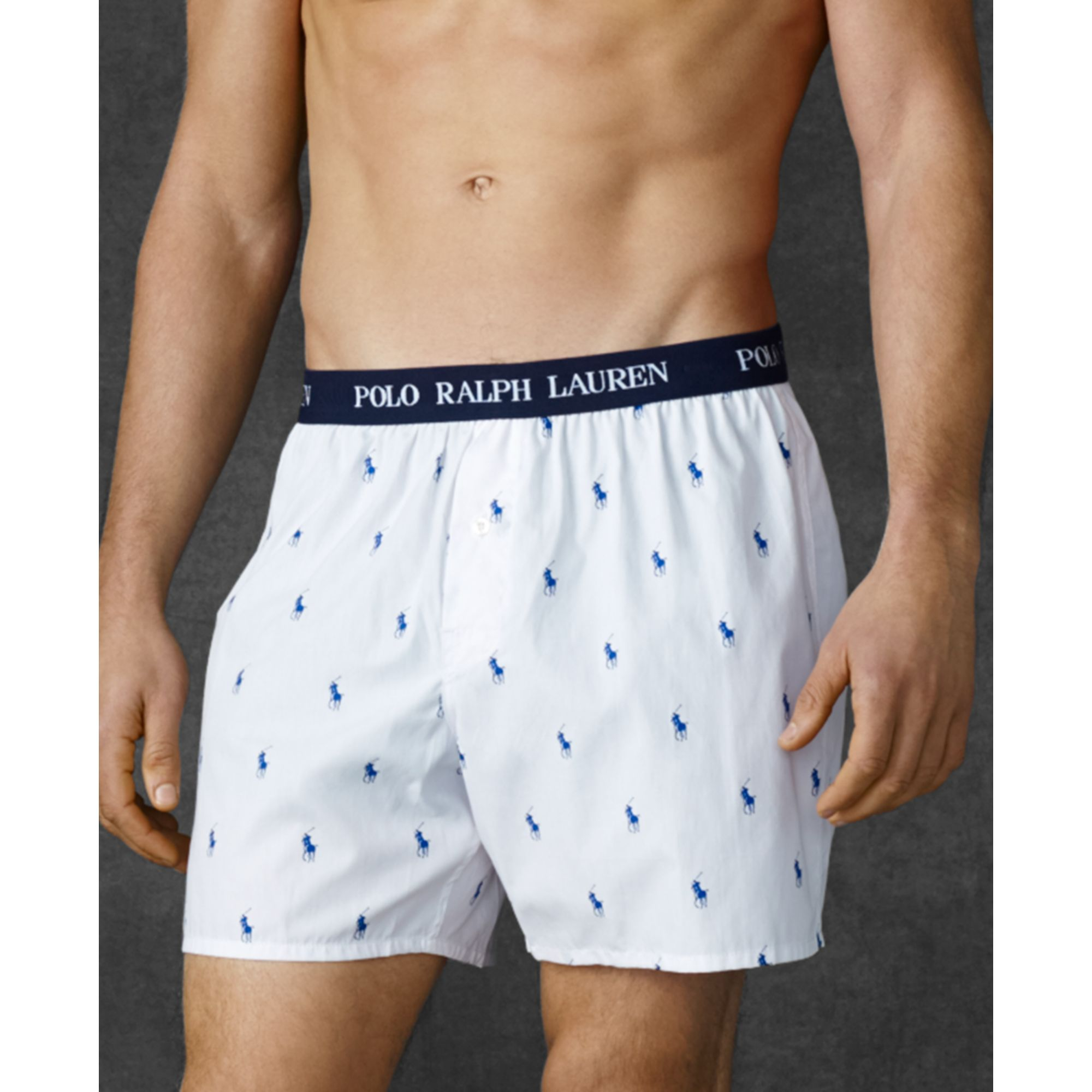 lyst ralph lauren polo player woven boxers in white for men. Black Bedroom Furniture Sets. Home Design Ideas