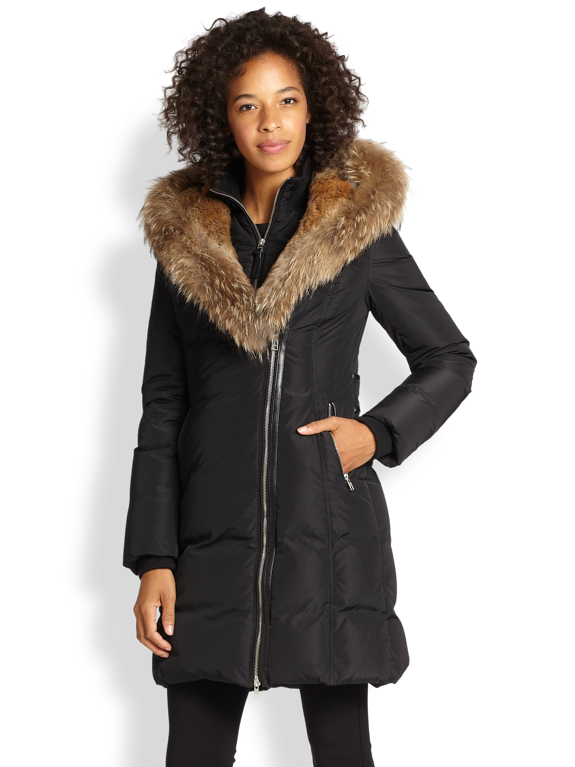 Mackage Fur-Trim Trish Down Coat in Black | Lyst
