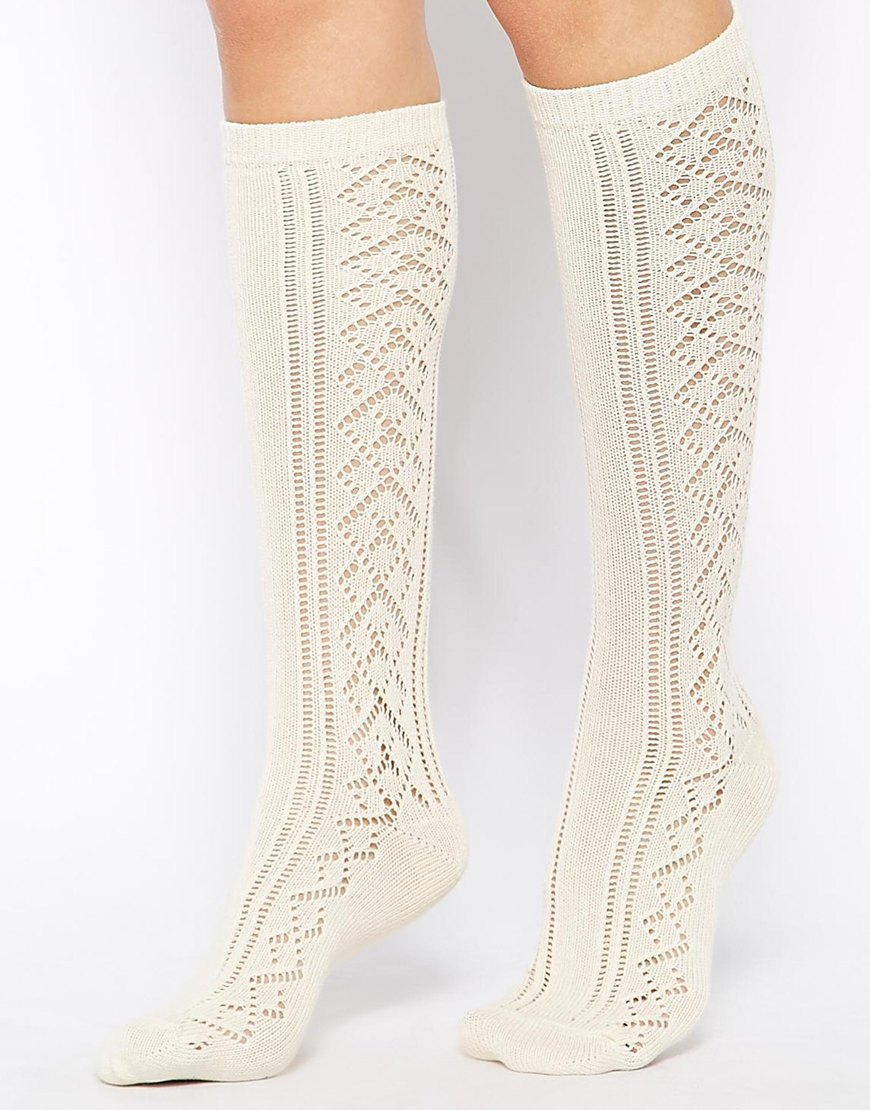 3c6b796f568 ASOS Knee High Pelerine Socks in Natural - Lyst