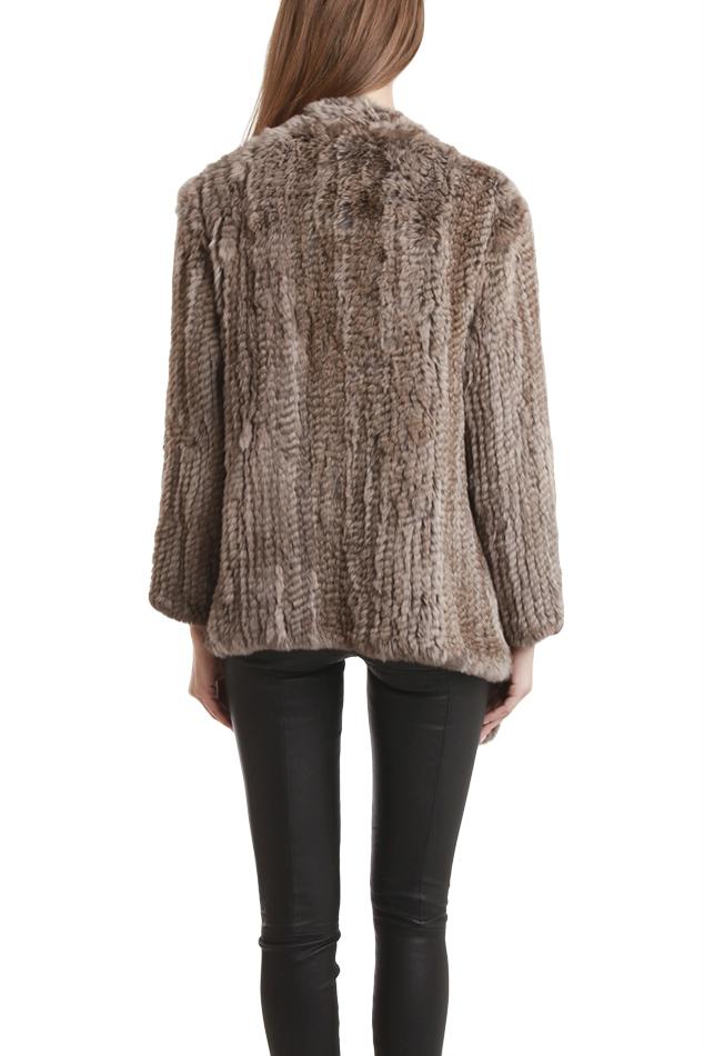 H Brand Ashleigh Rabbit Fur Jacket In Brown Lyst