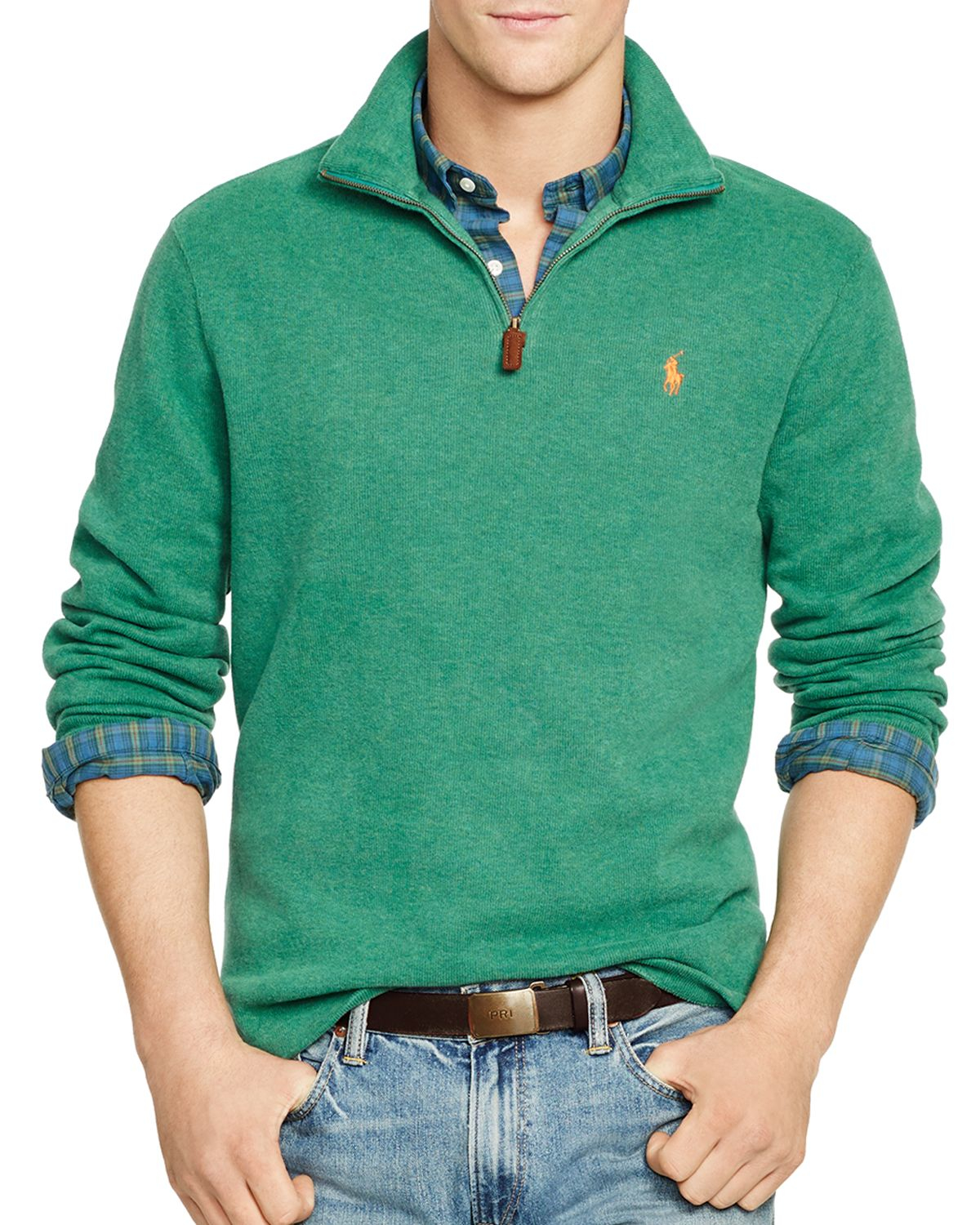 lyst ralph lauren polo french rib half zip pullover in green. Black Bedroom Furniture Sets. Home Design Ideas