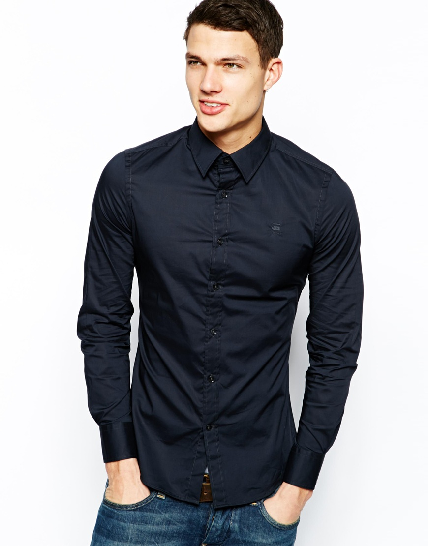 g star raw g star shirt correct core office poplin in blue for men lyst. Black Bedroom Furniture Sets. Home Design Ideas