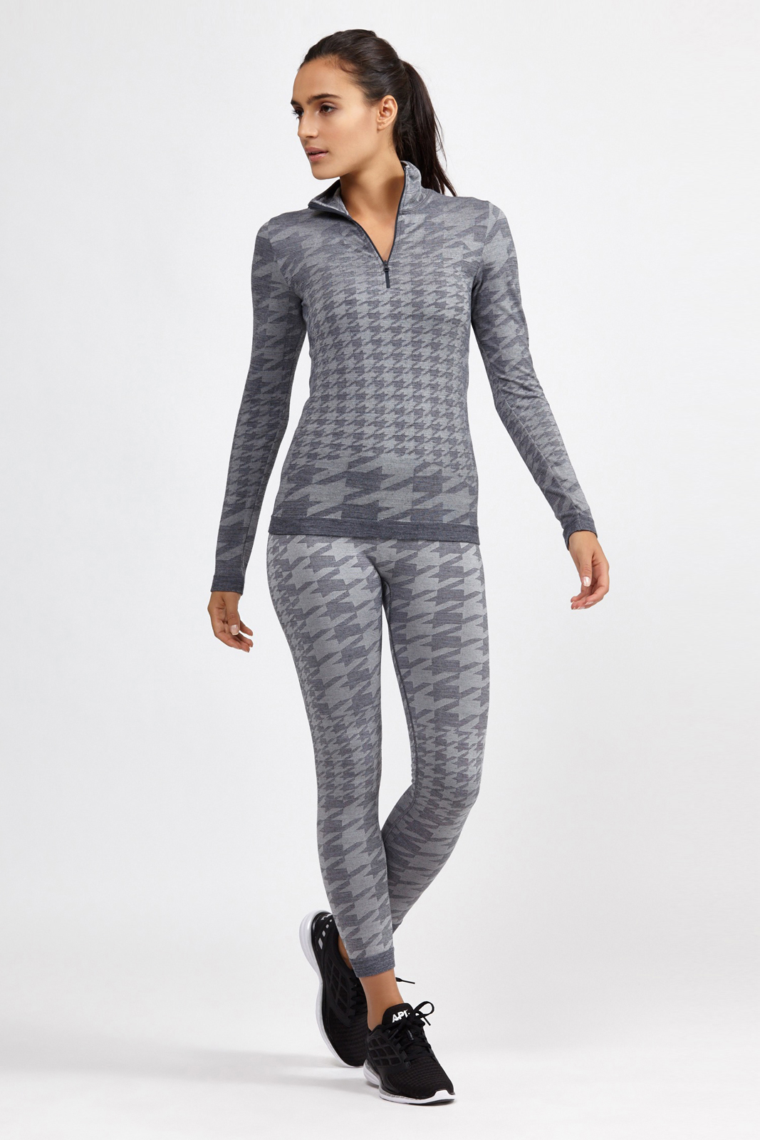 lyst adidas by stella mccartney houndstooth knitted top. Black Bedroom Furniture Sets. Home Design Ideas