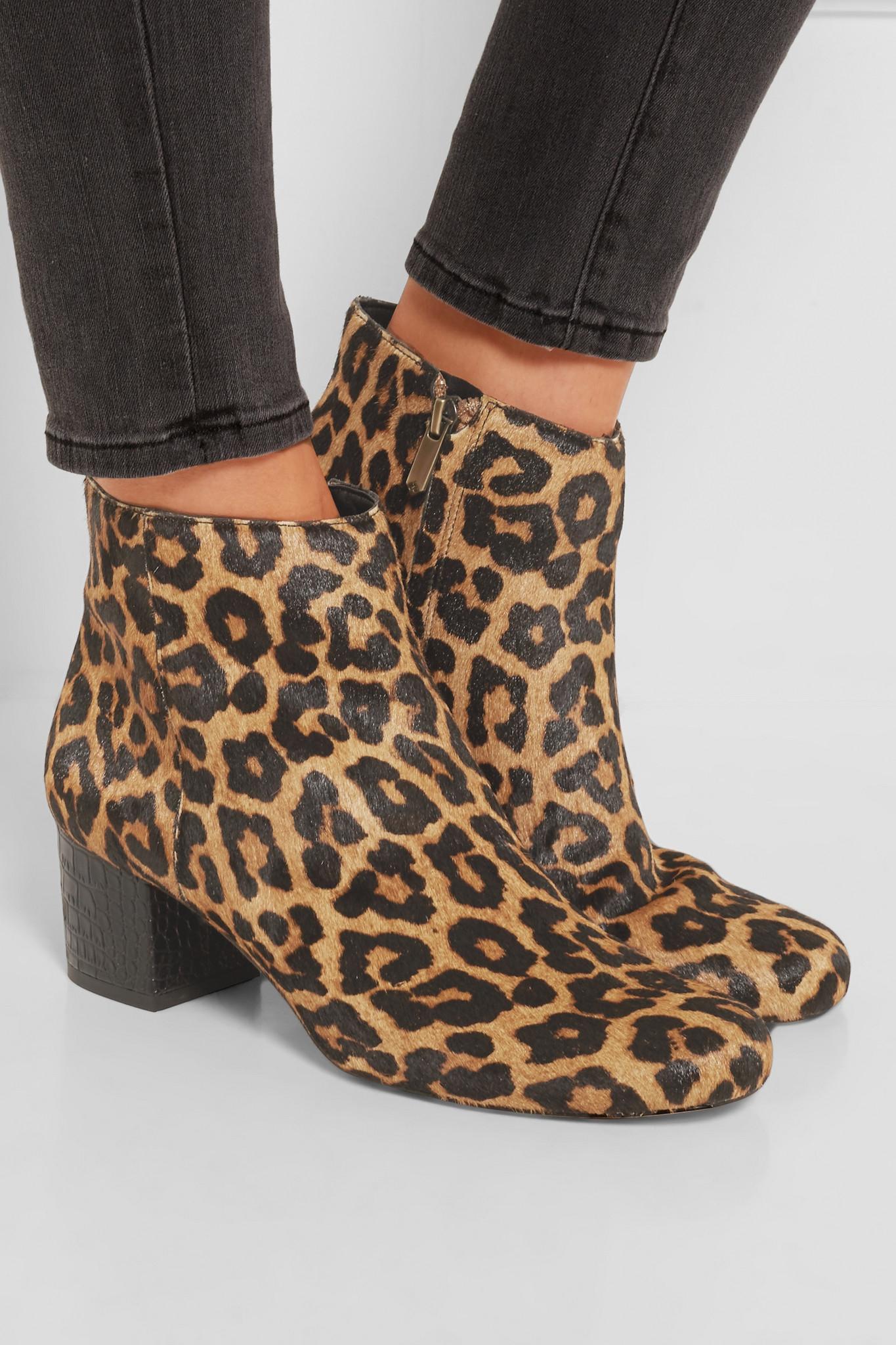 31c6f338398439 Lyst - Sam Edelman Edith Leopard-print Calf Hair Ankle Boots in Brown