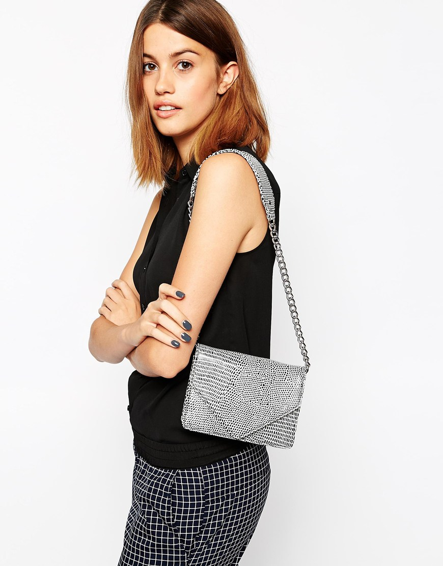Asos Croc Shoulder Bag With Short Chain Strap | Lyst