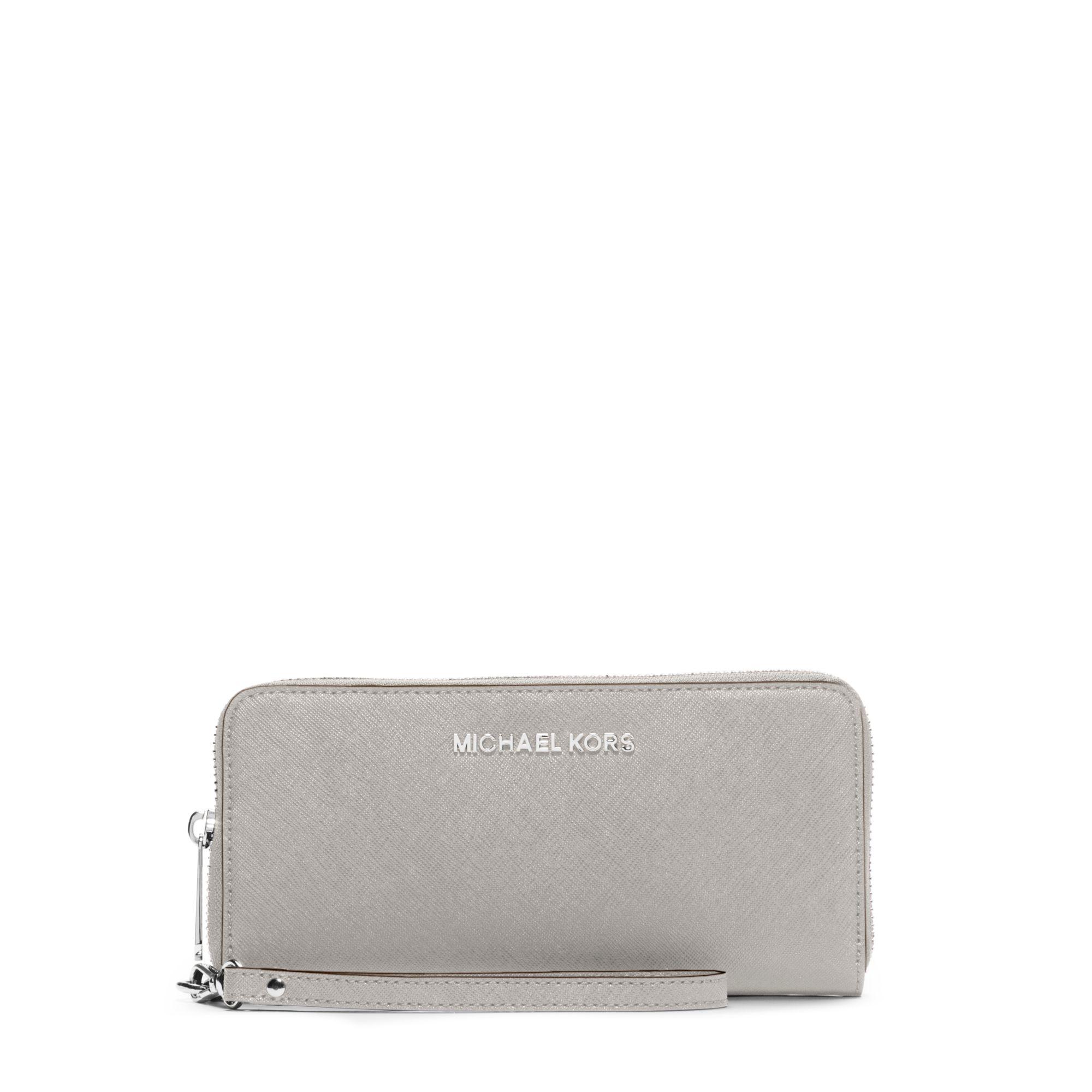 02cbd63bfe71 ... Continental Wallet Gray🎉 Michael kors Jet Set Travel Large Saffiano  Leather Smartphon ...