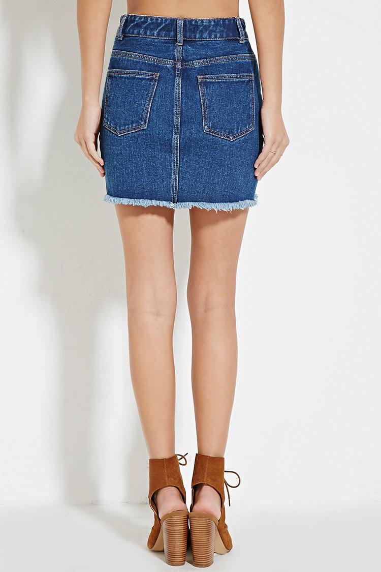 Forever 21 Frayed Denim Skirt in Blue   Lyst