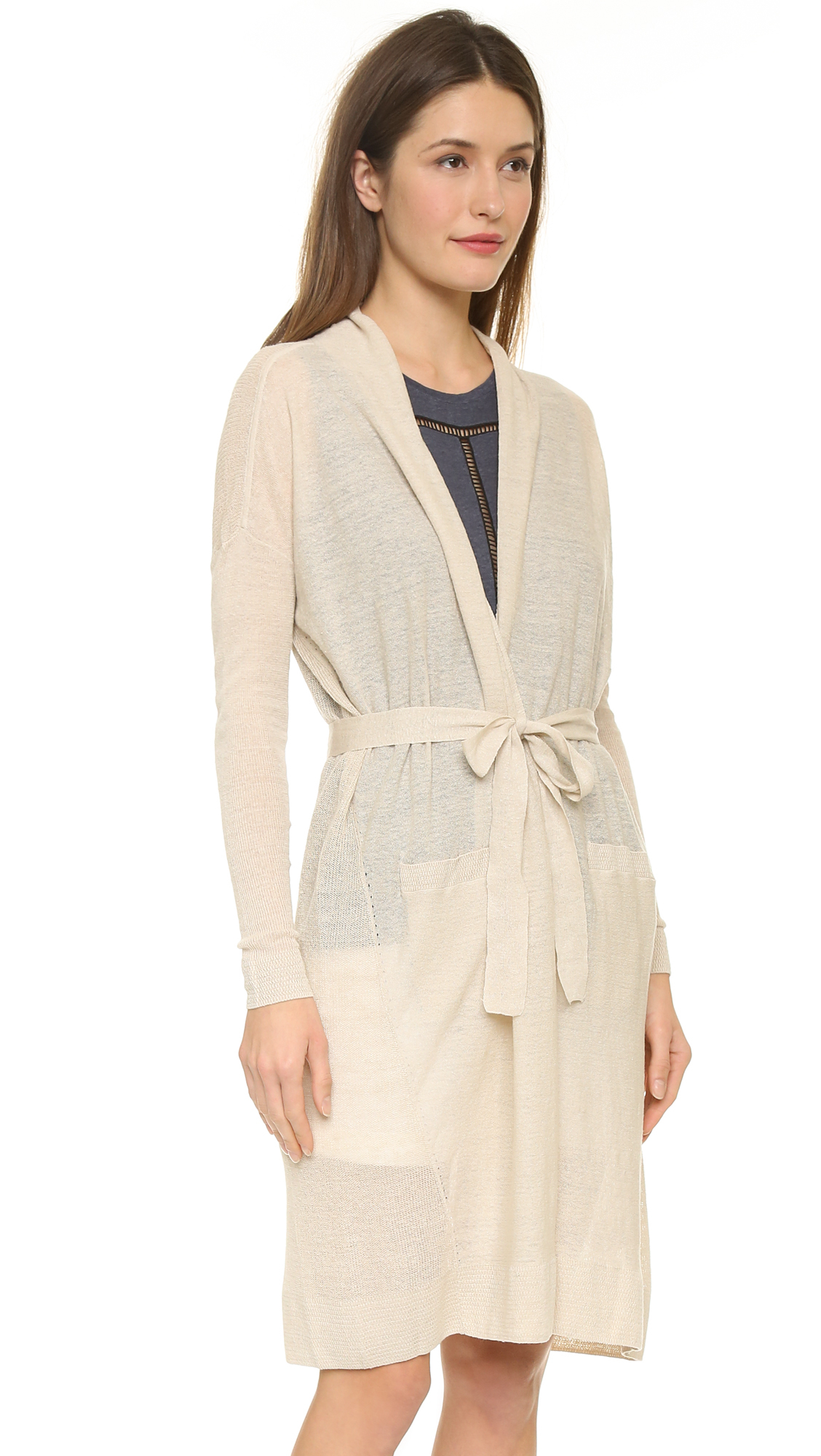 Vince Long Belted Cardigan - Linen in Natural | Lyst
