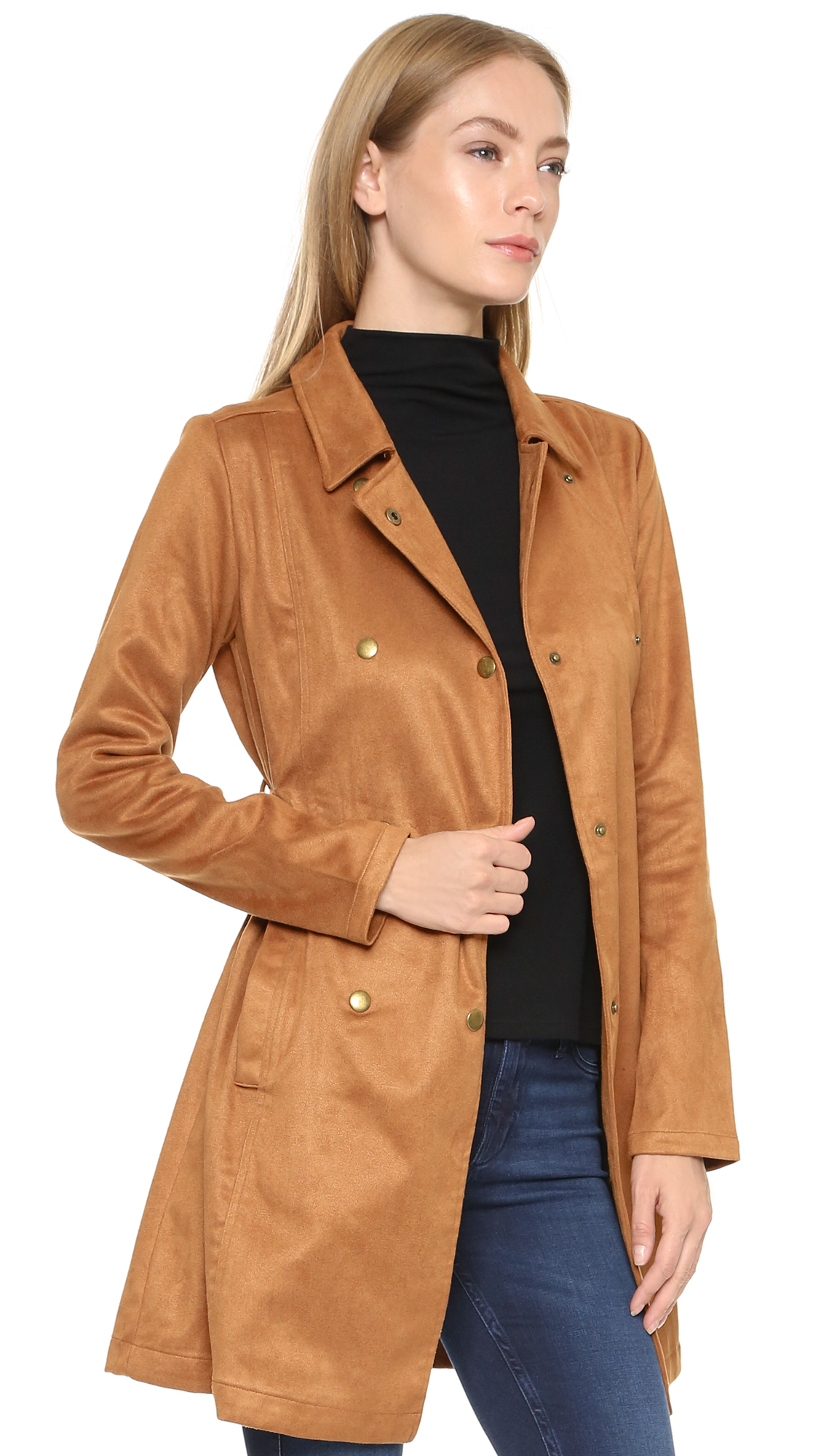 Gallery - Re:named Faux Suede Trench Coat - Camel In Natural Lyst