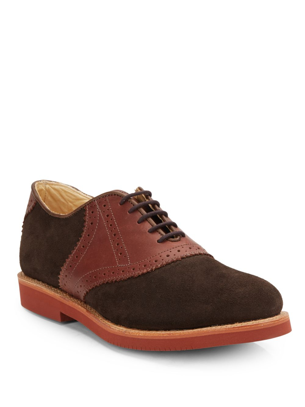 walk suede leather saddle oxford shoes in brown for