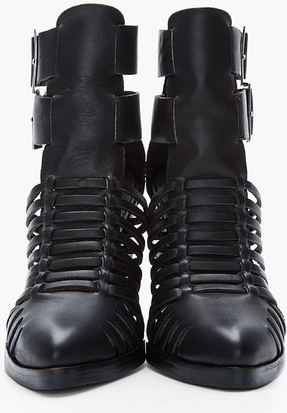 Jeffrey Campbell Black Leather Cantu Cutout Buckle Boots