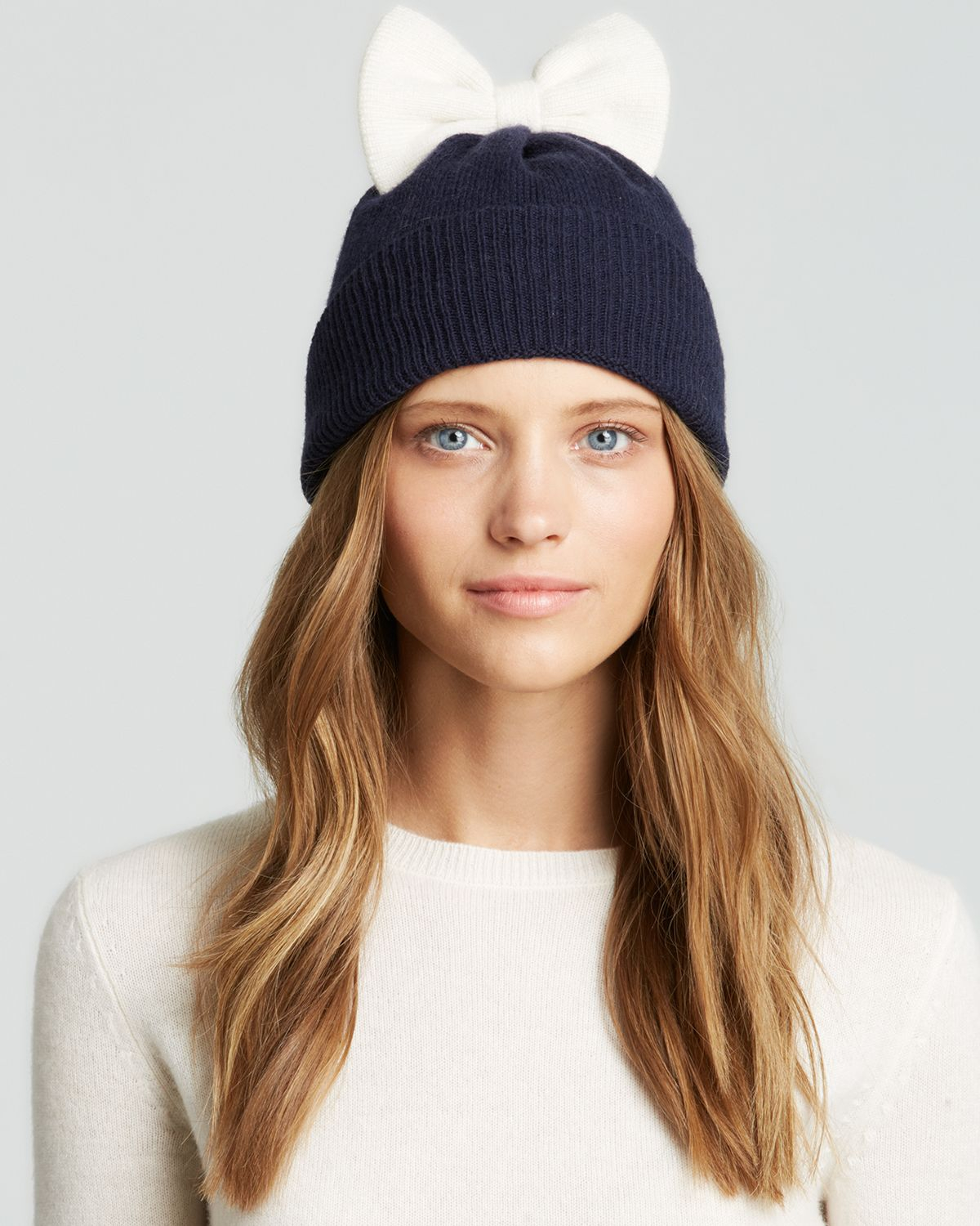 Lyst - Kate Spade Colorblock Bow Beanie in Blue 9bc28f946a6