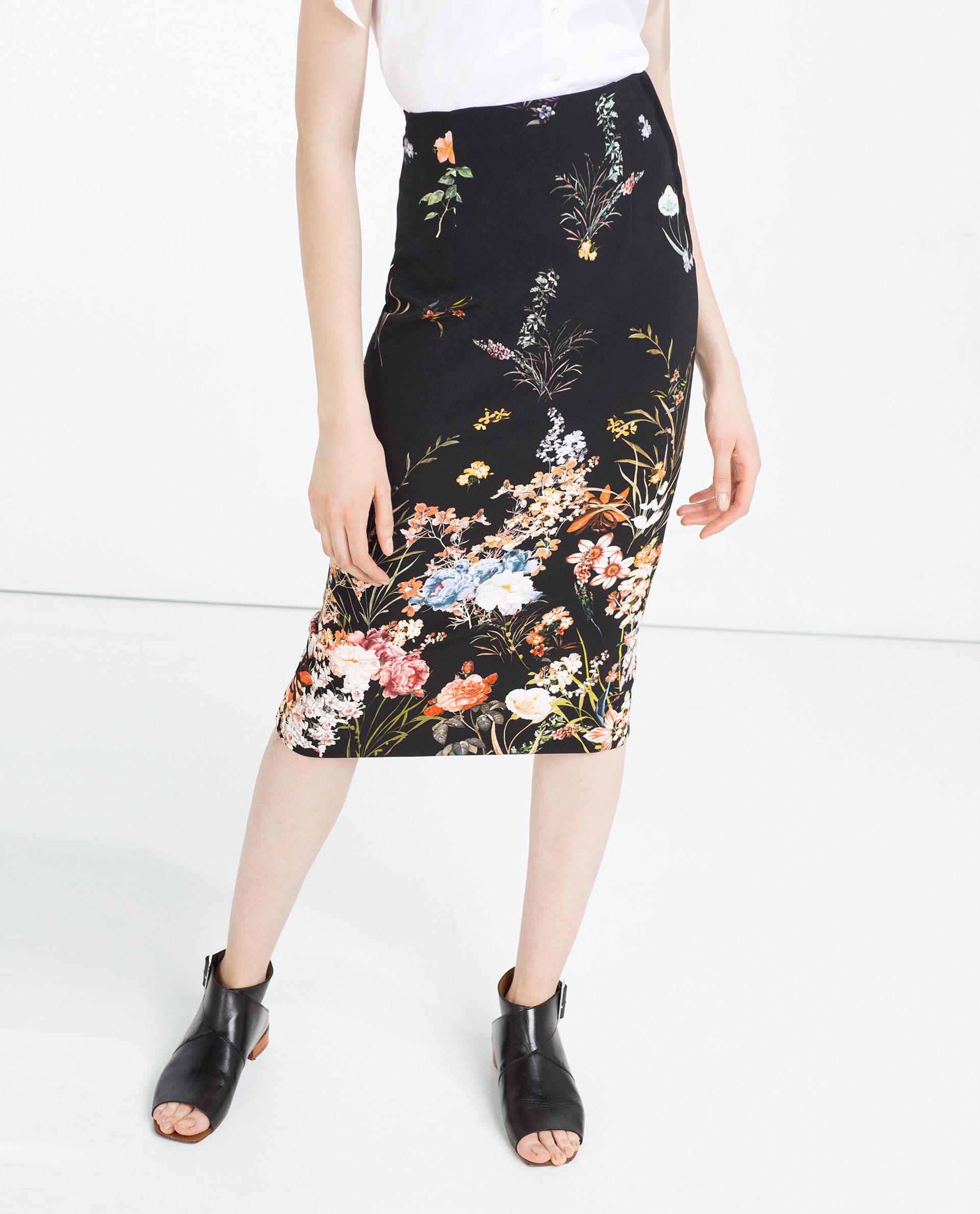 zara floral pencil skirt in black lyst