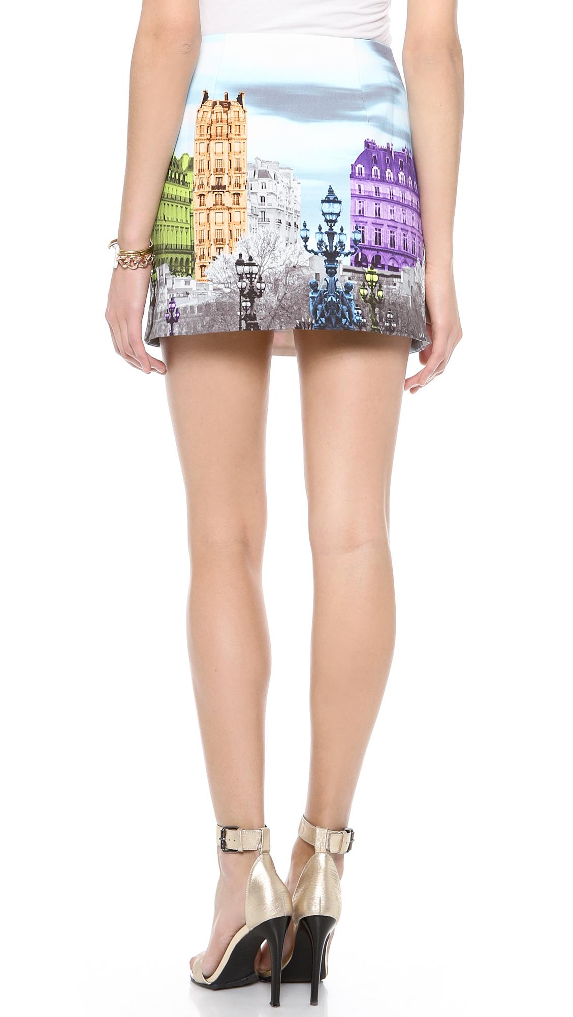 Tibi eiffel tower skirt black multi in multicolor