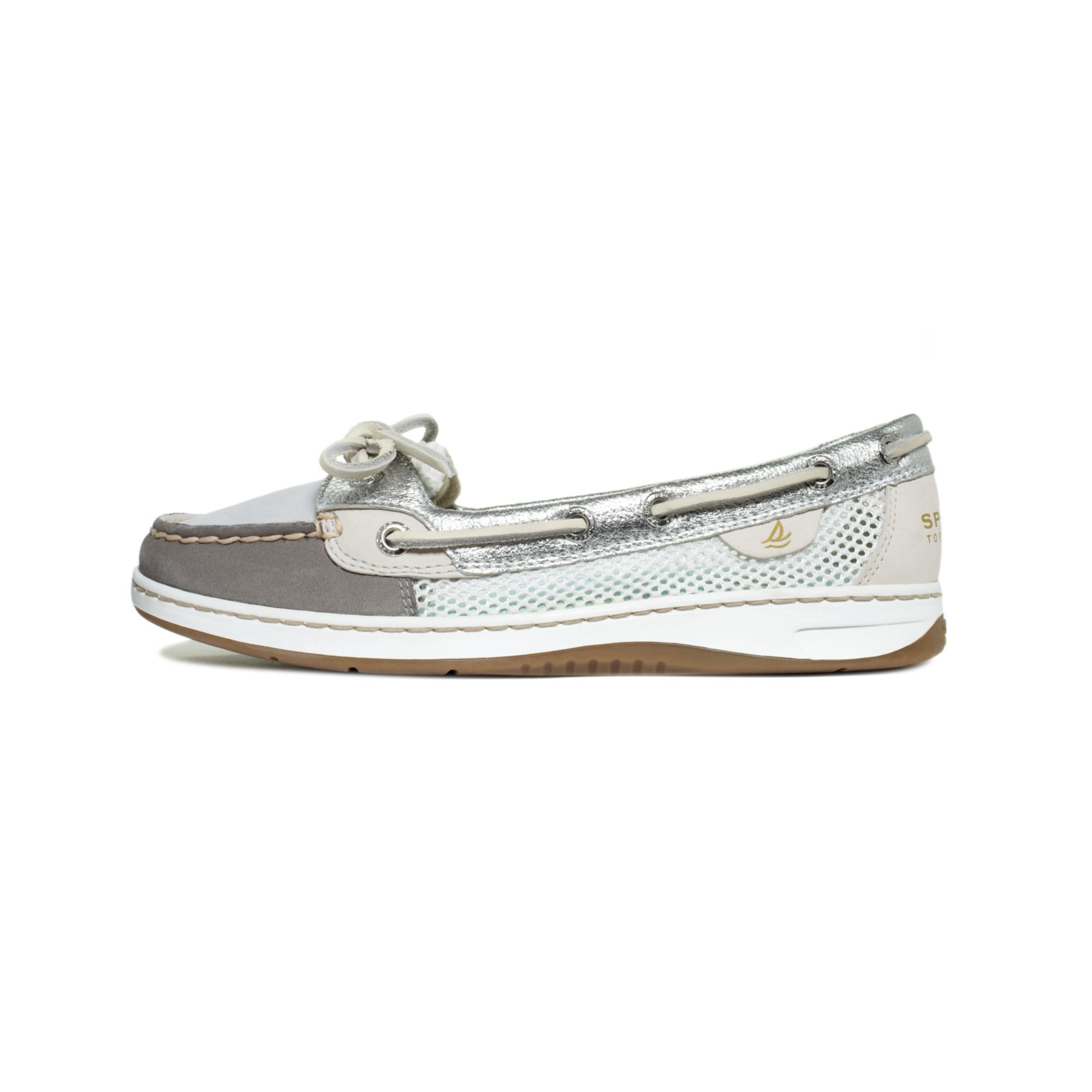 sperry top sider womens angelfish boat shoes in gray grey