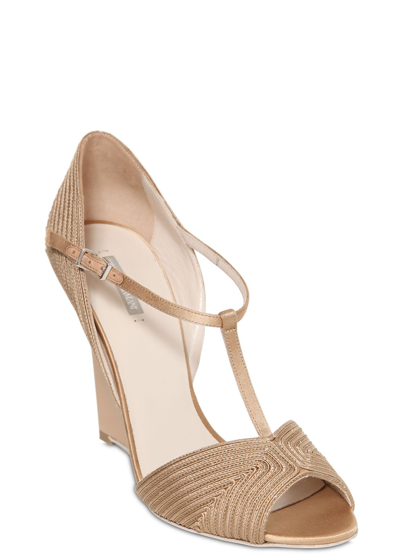 14811e05f29 Lyst - Giorgio Armani 100mm Soutage Satin Wedge Sandals in Metallic