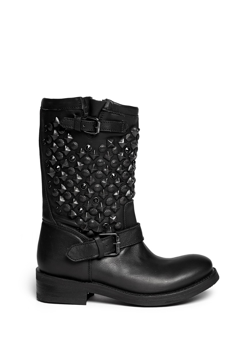 Ash Studded Leather Biker Boots free shipping cheap price OwKkSAHn
