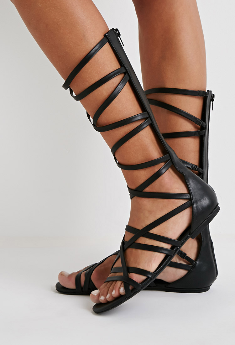 243d2d5b36e Lyst - Forever 21 Strappy Mid-calf Gladiator Sandals in Black