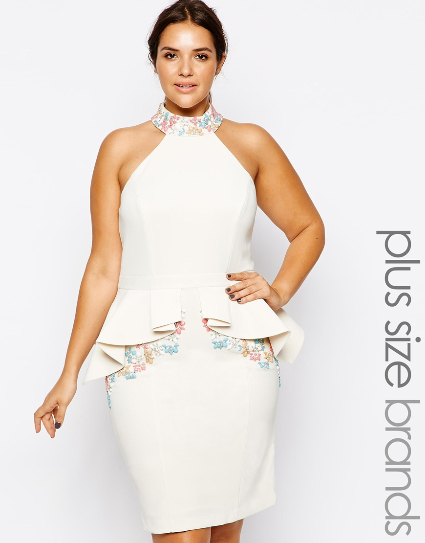 Forever unique Plus Size Solange Peplum Dress in White | Lyst
