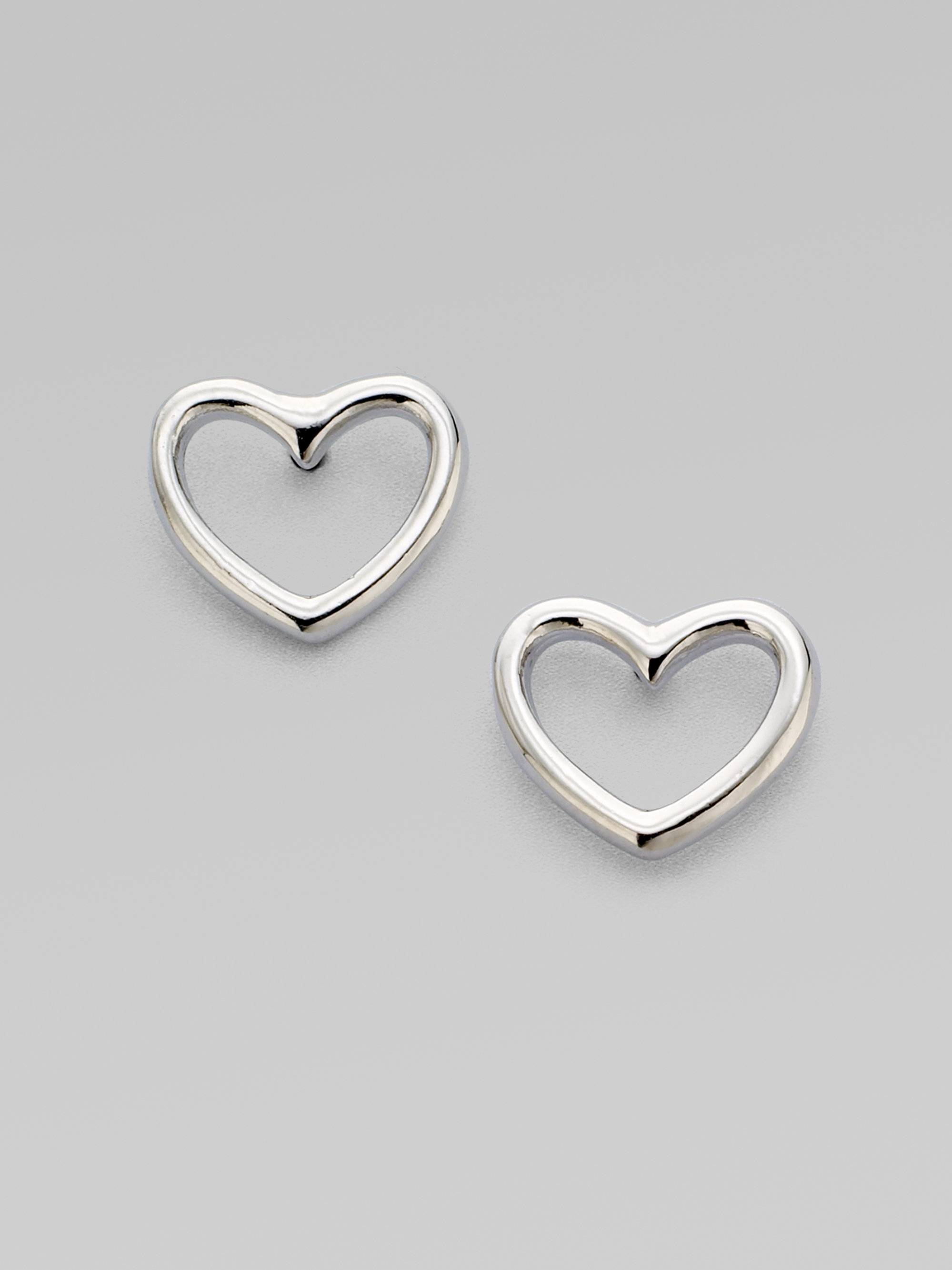 stud gallery silvertone marc shaped product lyst jacobs earrings jewelry heart normal silver love in by