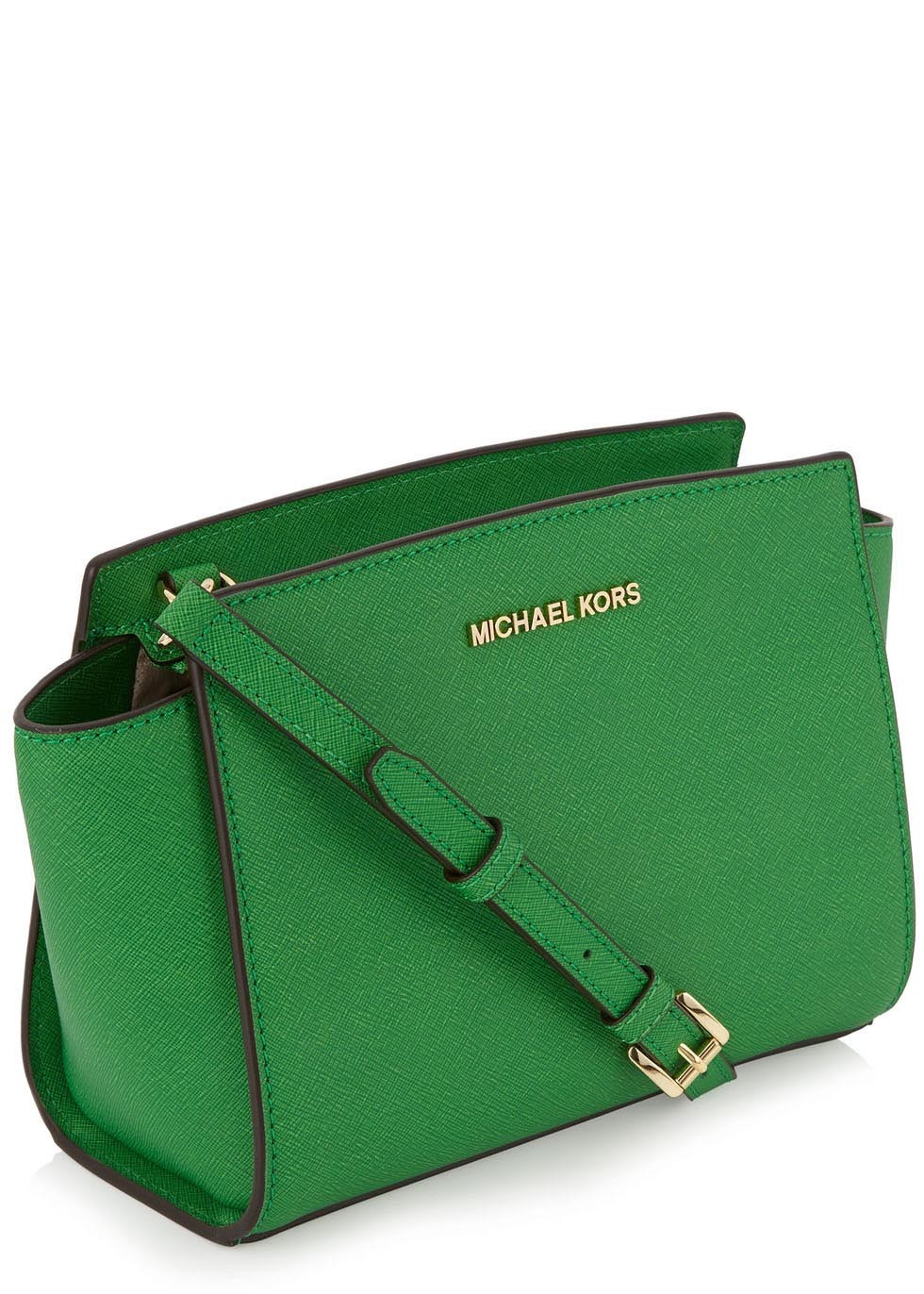 038375f69fa6 ... norway michael kors selma green saffiano crossbody bag in green lyst  62e63 a0b1b ...