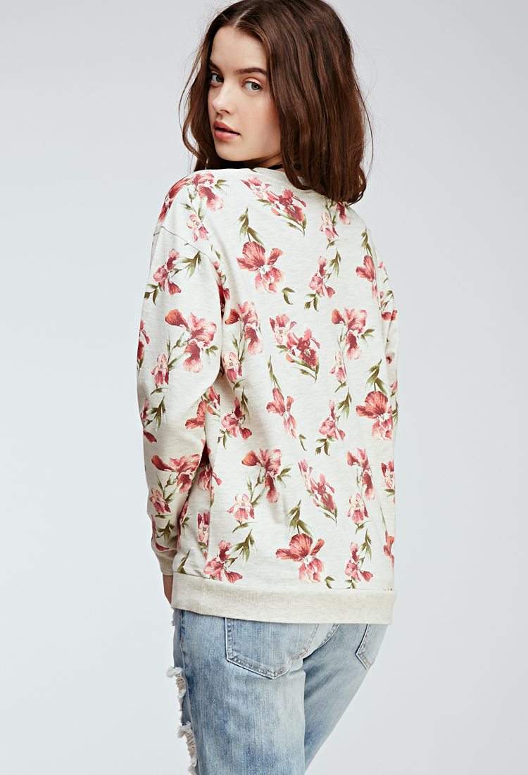 Forever 21 Floral Print Crew Neck Sweater - Lyst 48dfbf5369