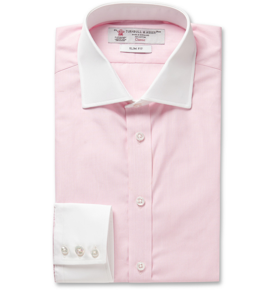 Turnbull Asser Pink Contrast Collar And Cuff Cotton
