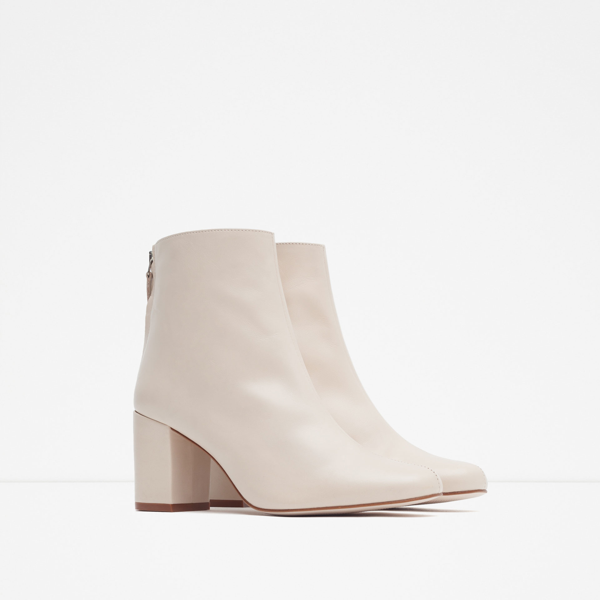 zara high heel leather ankle boots with zip in lyst