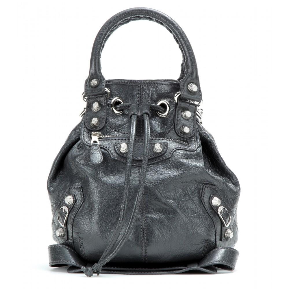 6bd8b92dc8 Lyst - Balenciaga Giant Mini Pompon Leather Shoulder Bag in Gray