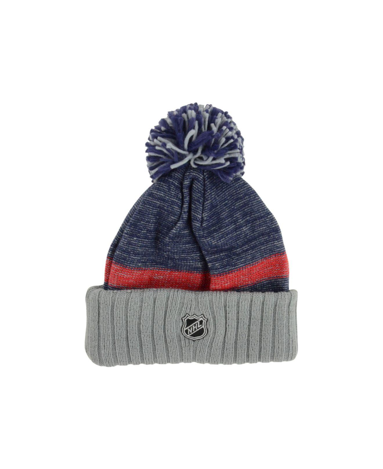 542aee17bef Lyst - Reebok Columbus Blue Jackets Pom Knit Hat in Blue for Men