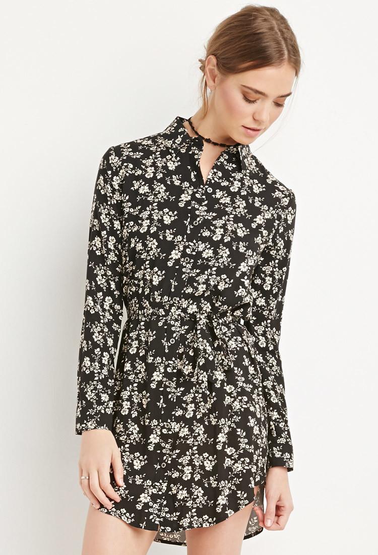 Forever 21 Belted Floral Shirt Dress In Black Lyst