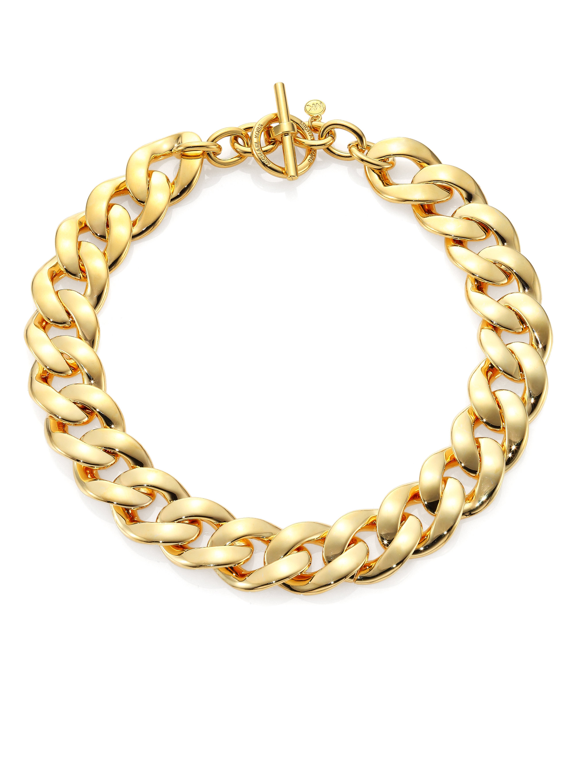 Michael Kors Curb Chain Toggle Necklace In Metallic Lyst
